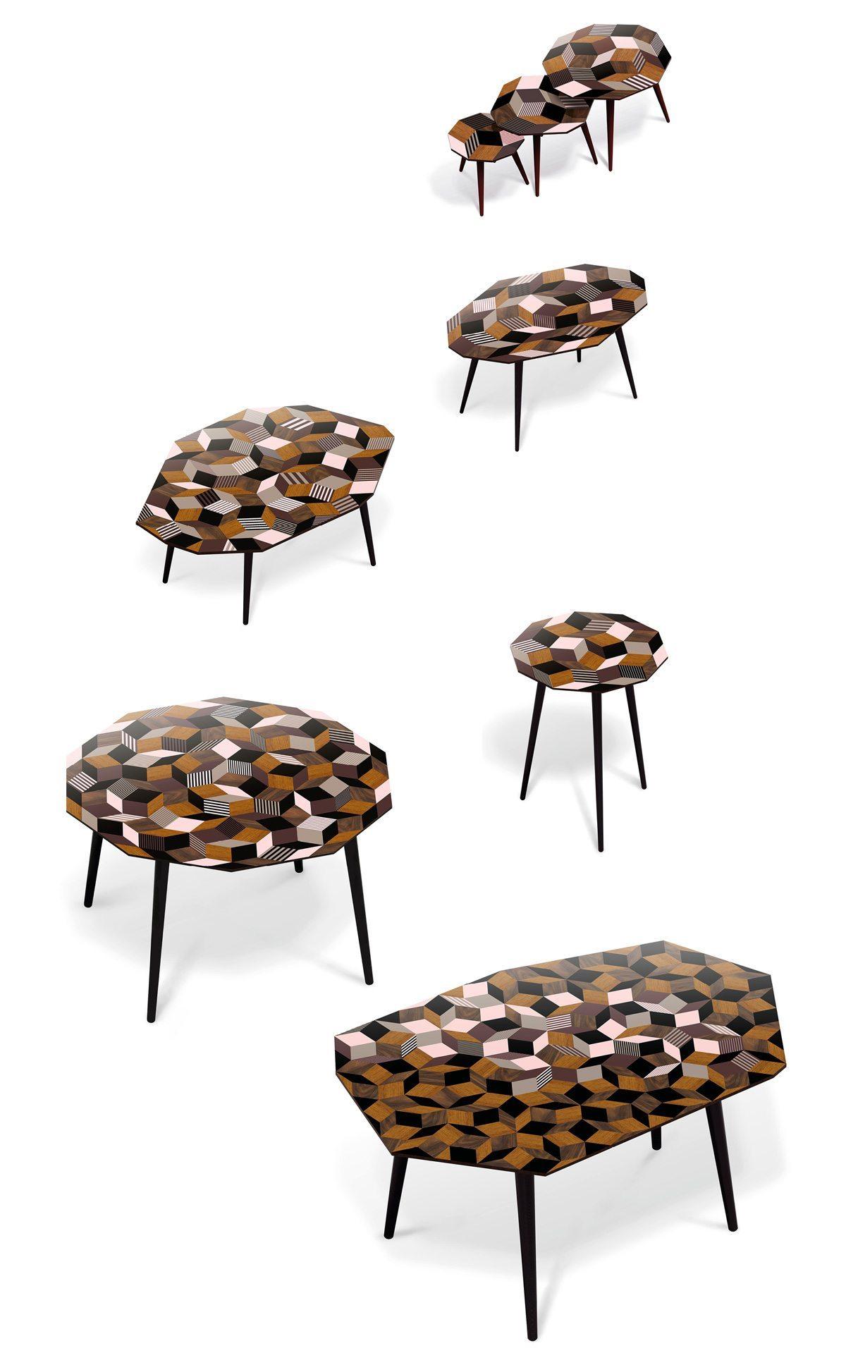made in design plateaux des tables fancy wood par ichetkar pavage penrose marqueterie et rose