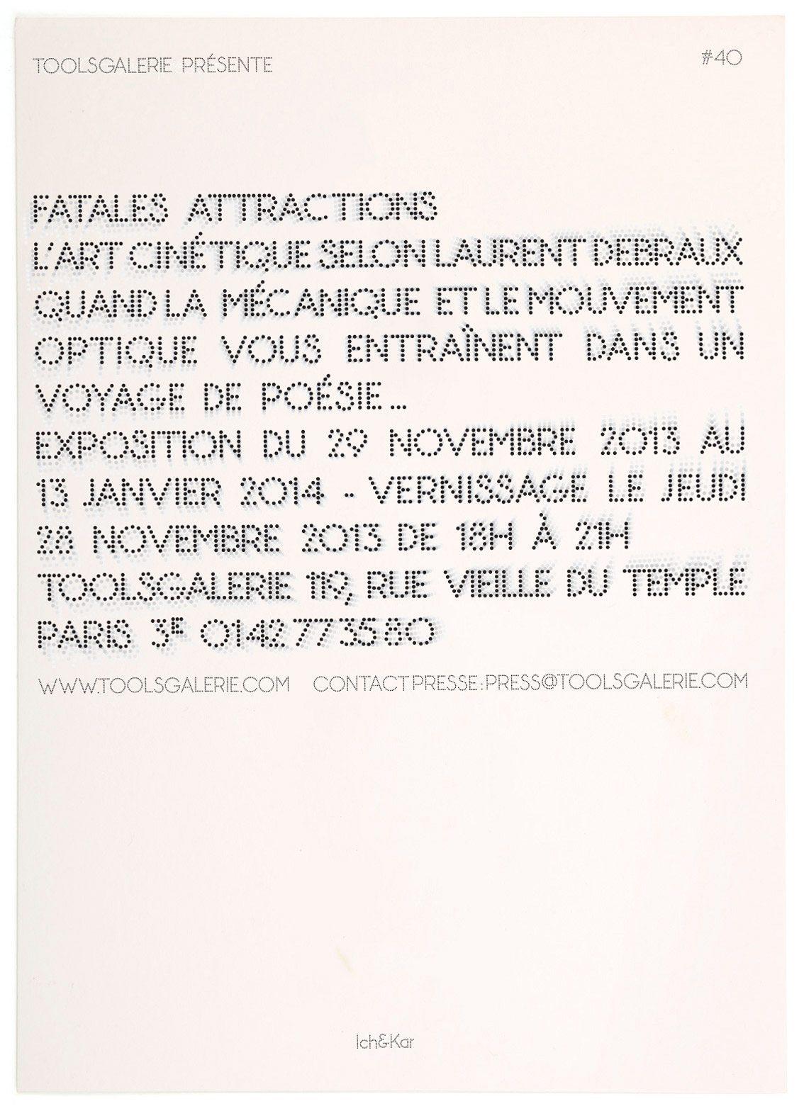 Le carton d'invitation pour Fatales Attractions, l'art cinétique selon Laurent Debraux, design IchetKar