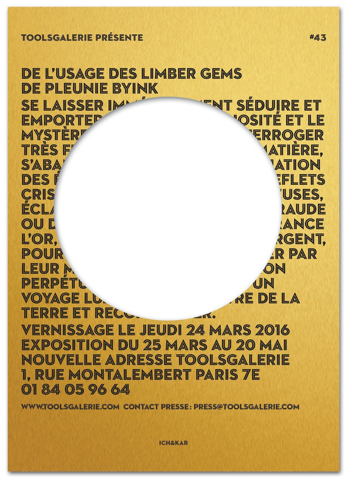 Le carton d'invitation pour l'exposition Limber Gems de Pleunie Byink a la ToolsGalerie, design IchetKar