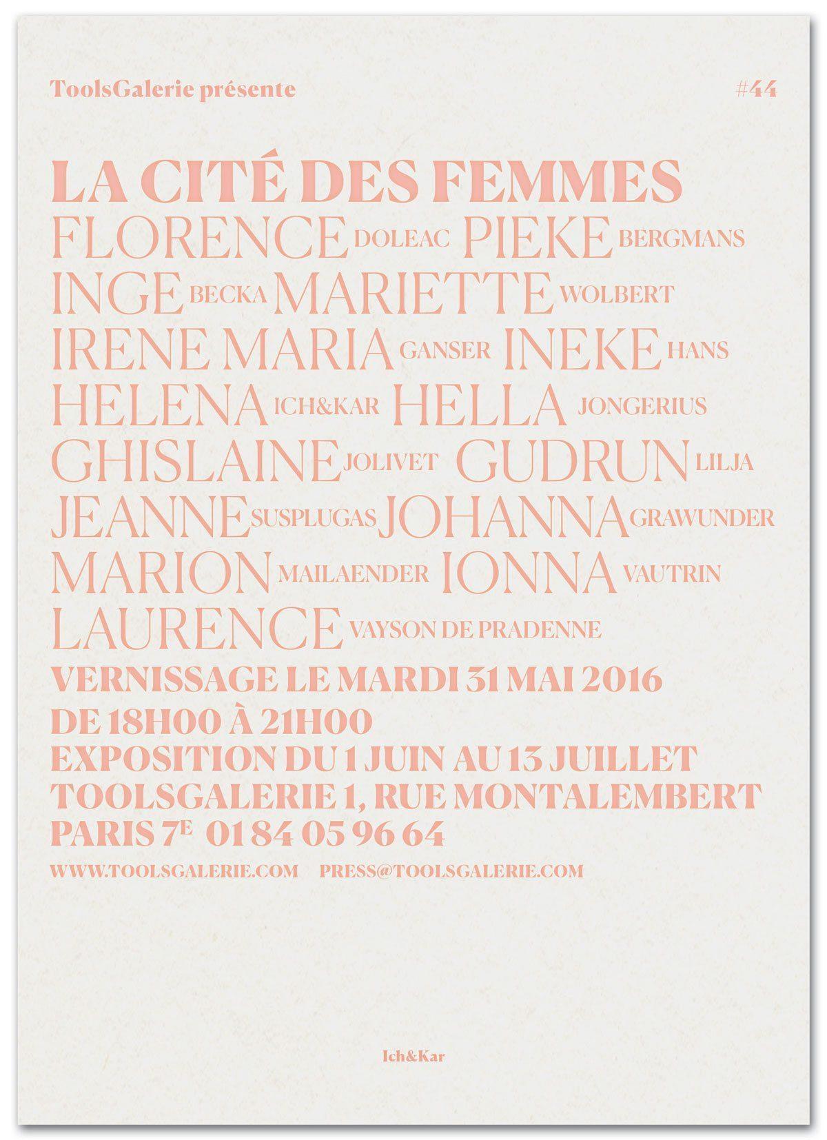 Le carton d'invitation pour l'exposition La Cité des Femmes à la ToolsGalerie, typographie rose poudrée, design IchetKar