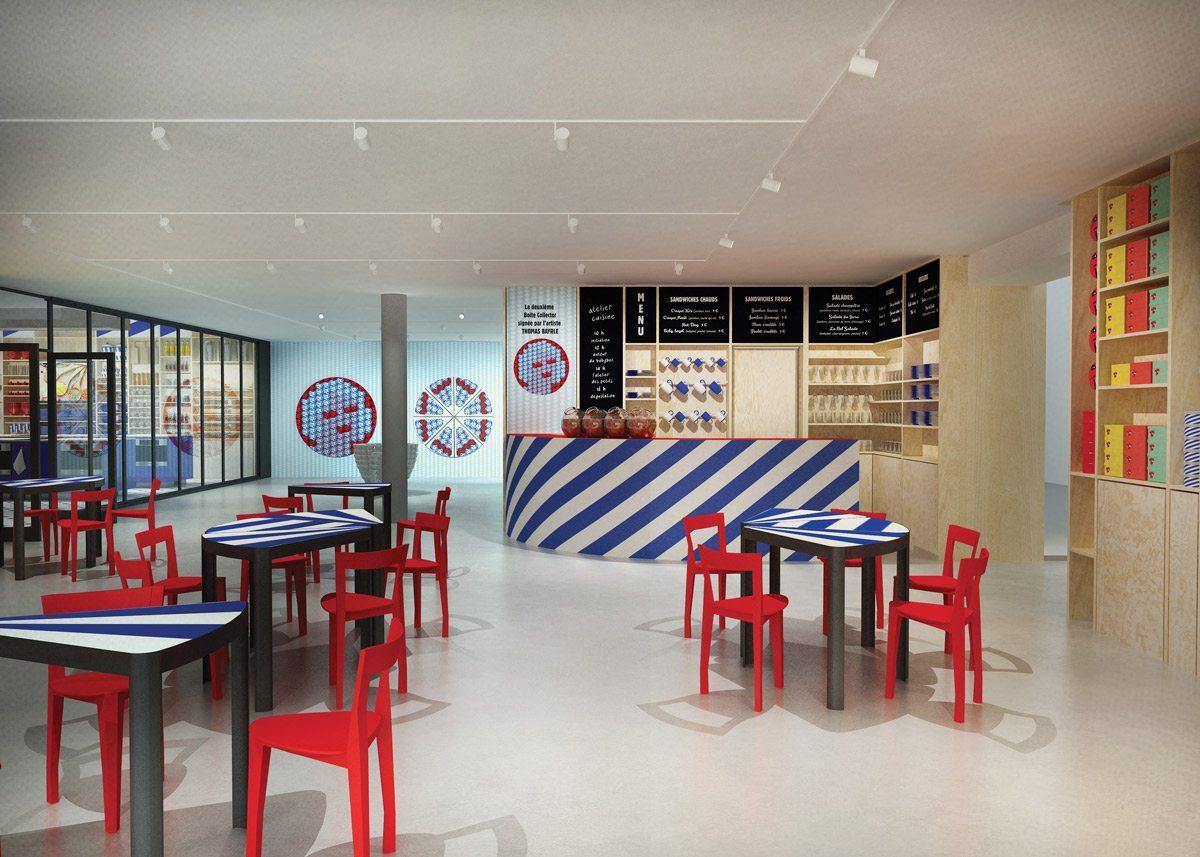 bazar boutique et café du musée de la vache qui rit à lons-le-saunier tables portions