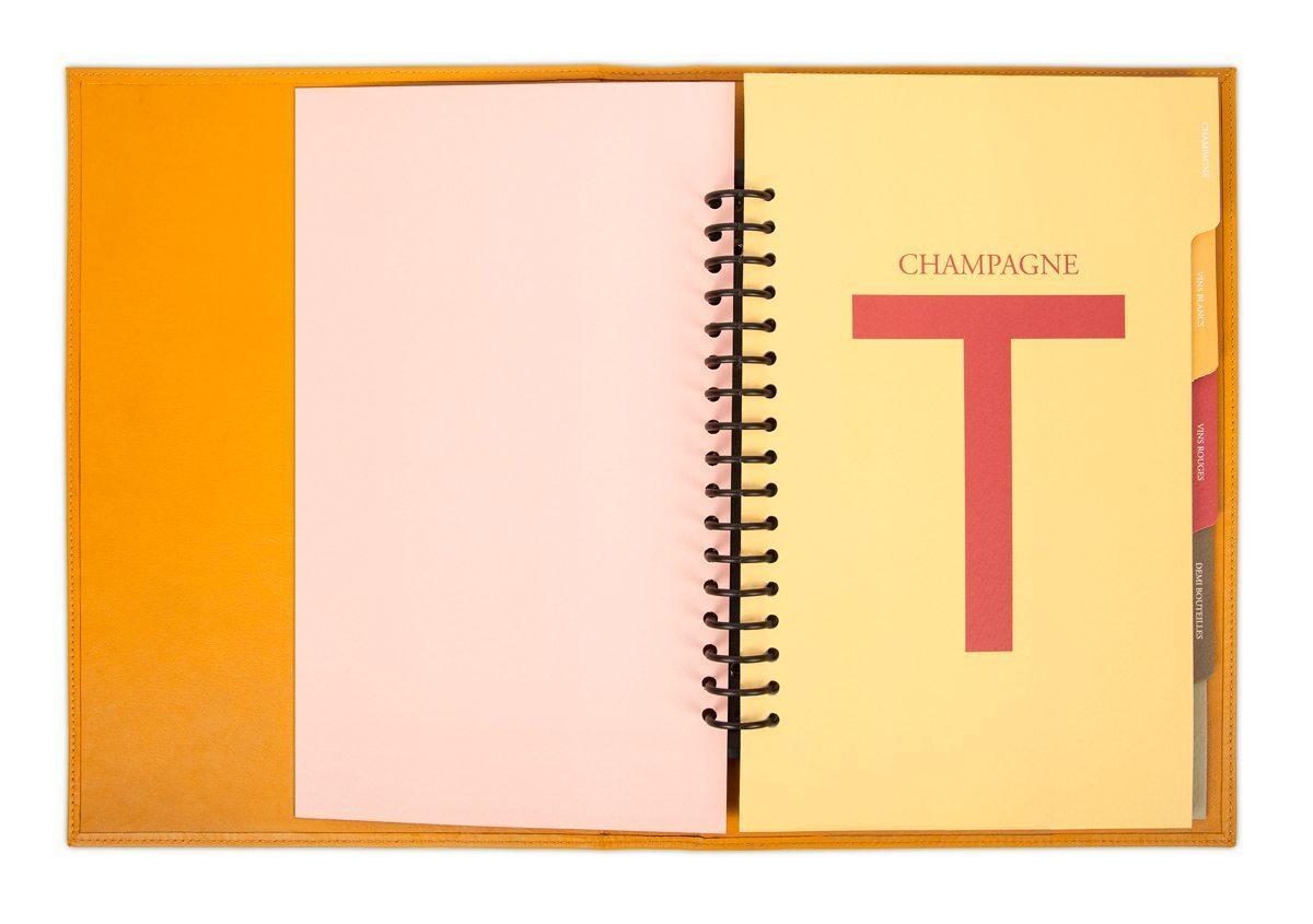 Carte des vins Troisgros, intercalaire Champagne, couleurs jaune et rouge, design IchetKar