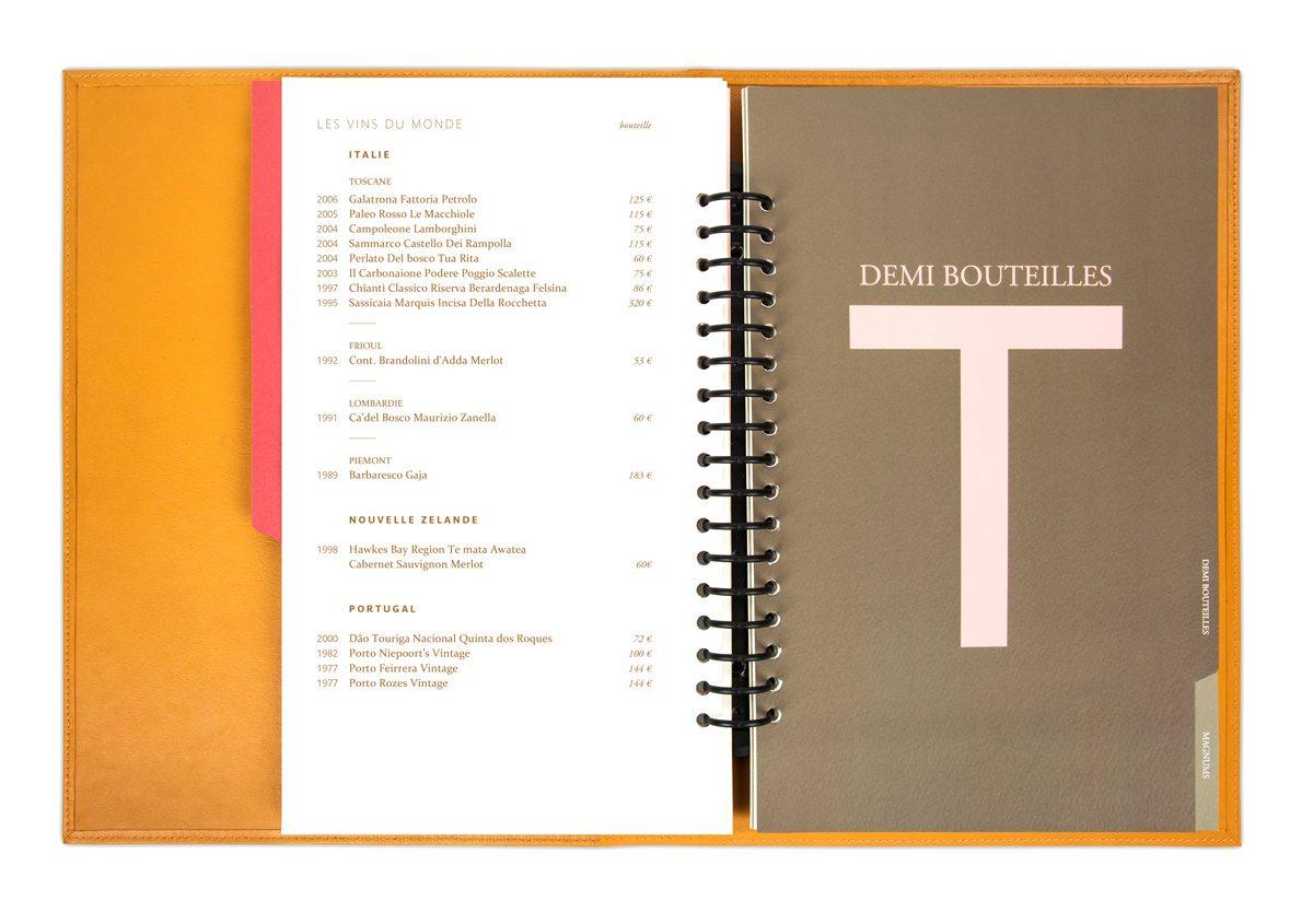 Carte des vins Troisgros, intercalaire demi bouteilles, couleurs brun et rose poudré, design IchetKar