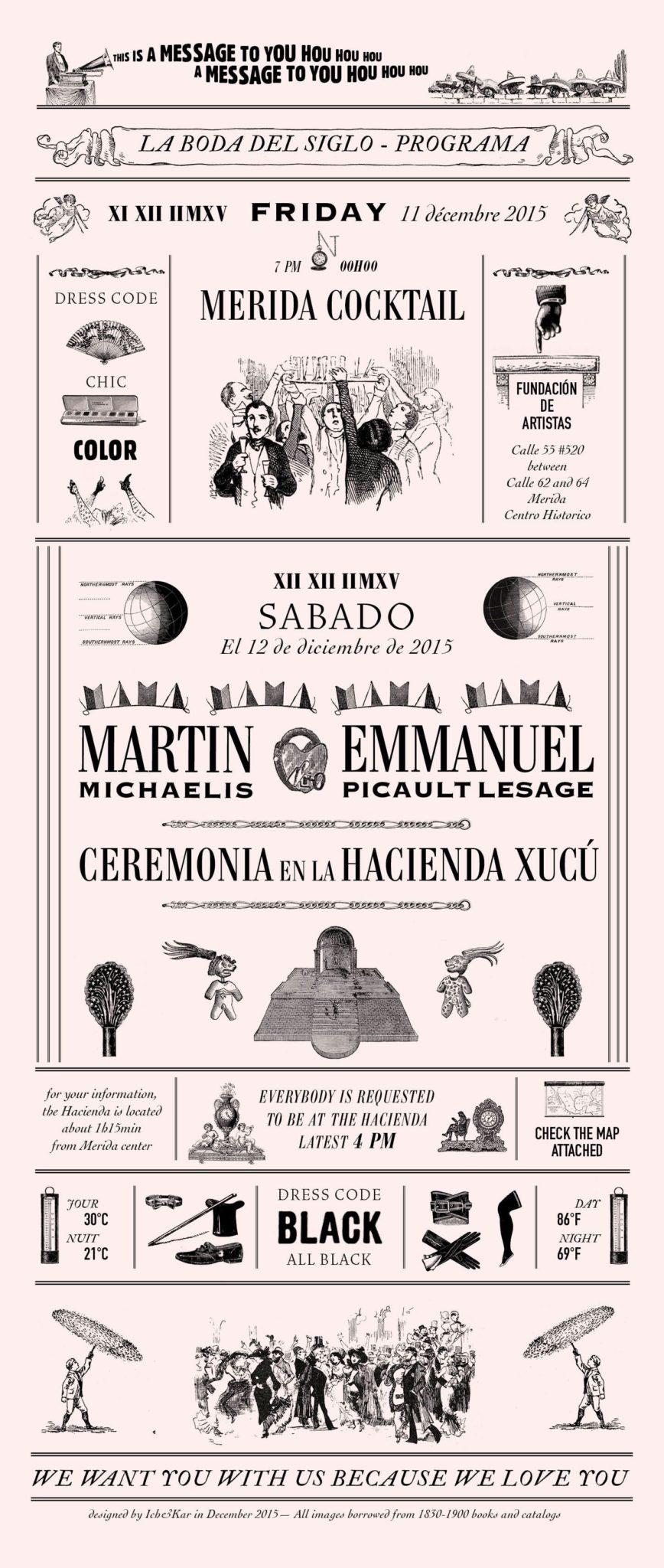programme du mariage du siècle emmanuel Picault et Martin Michaelis