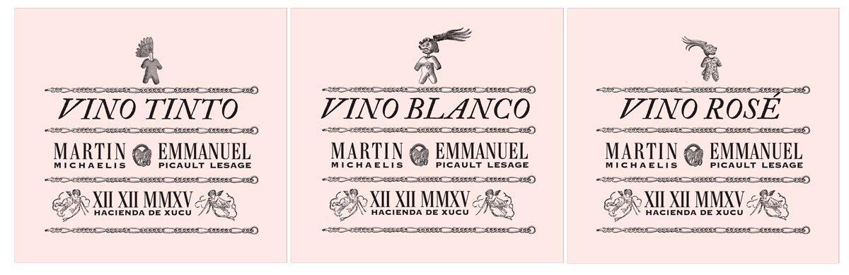 etiquette de vins, blanc, rosé et rouge pour le mariage de martin michaelis et emmanuel picault