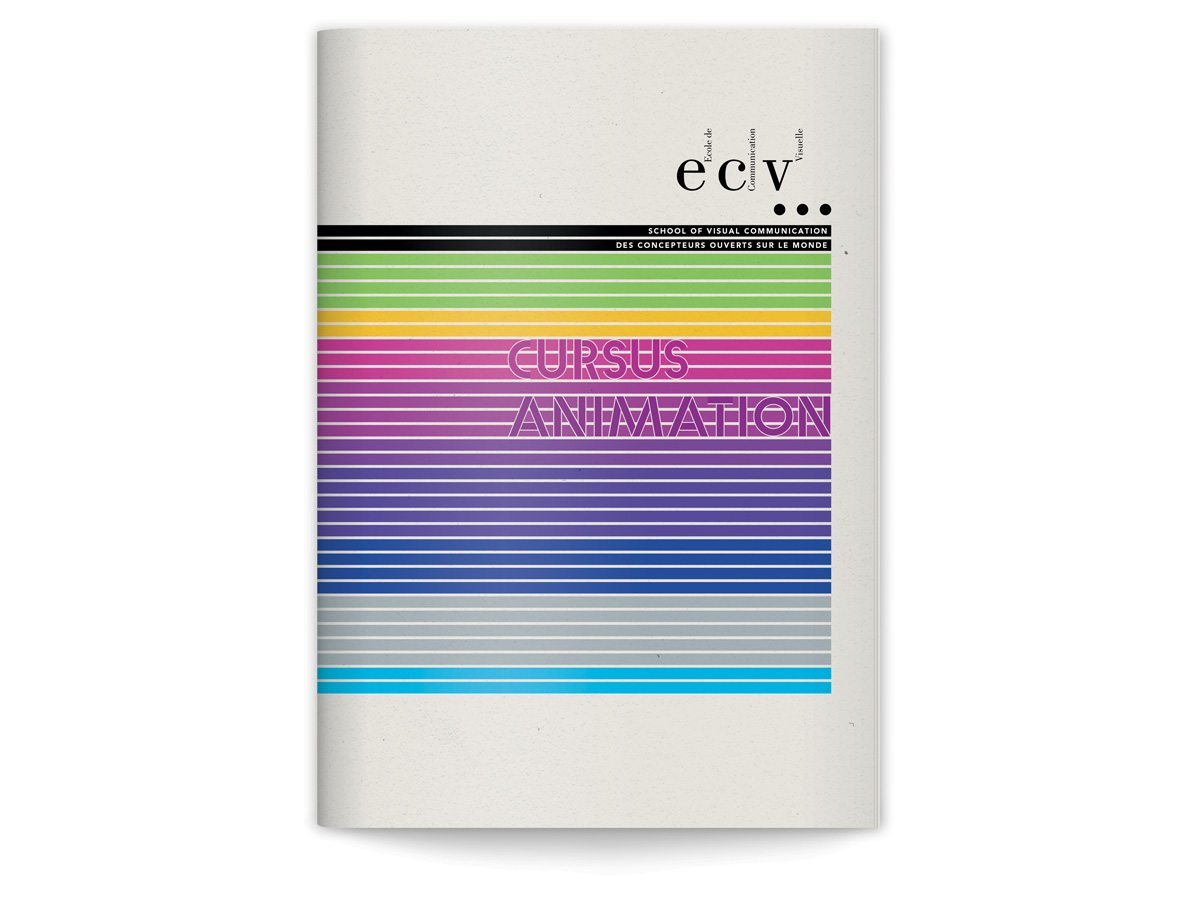 La couverture de la brochure cursus animation de L'ECV, design IchetKar