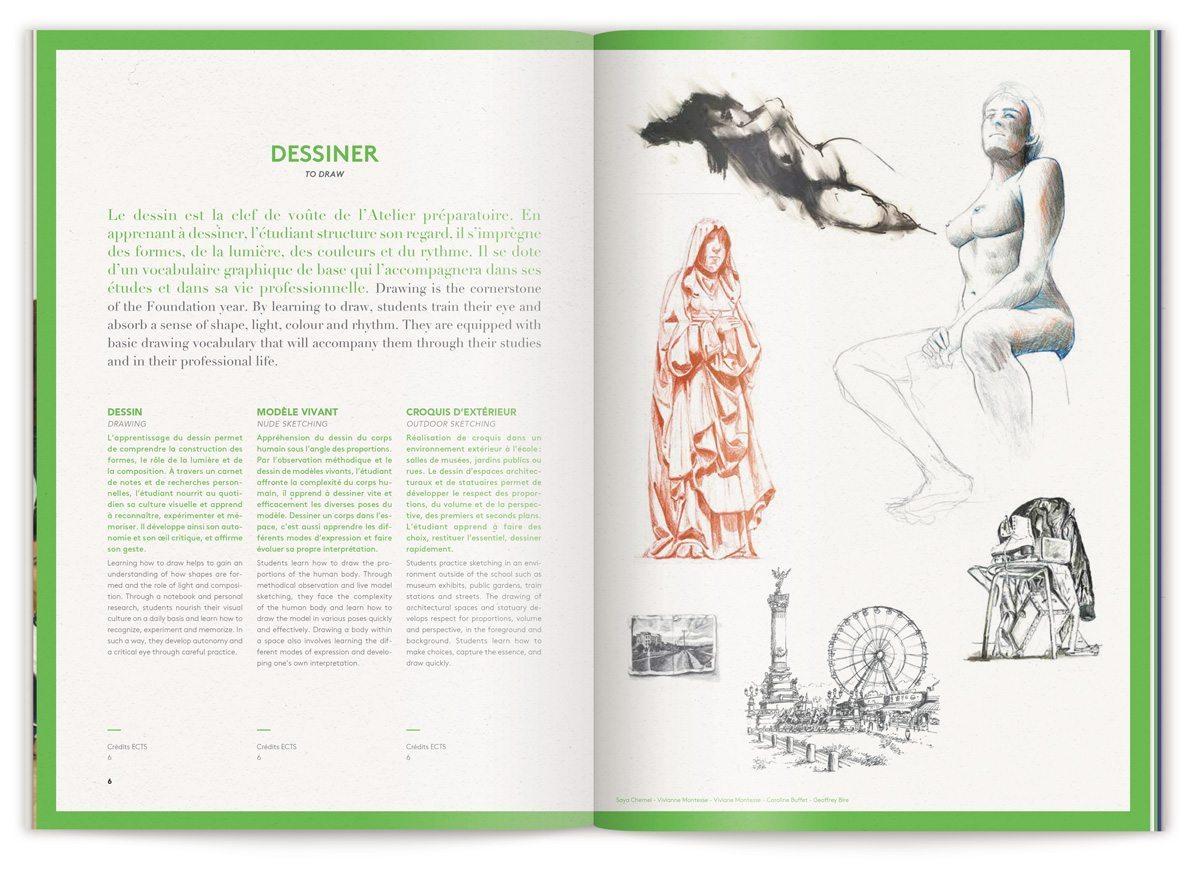 La page dessiner avec exemple de croquis de nue, Ecole de Communication Visuelle, design IchetKar