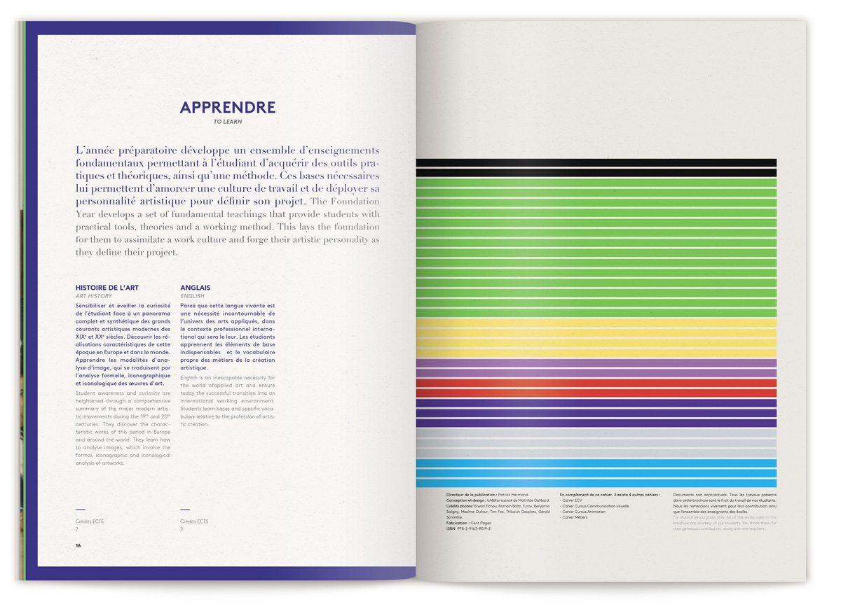 La brochure atelier préparatoire se termine sur la page apprendre, 'Ecole de Communication Visuelle, design IchetKar