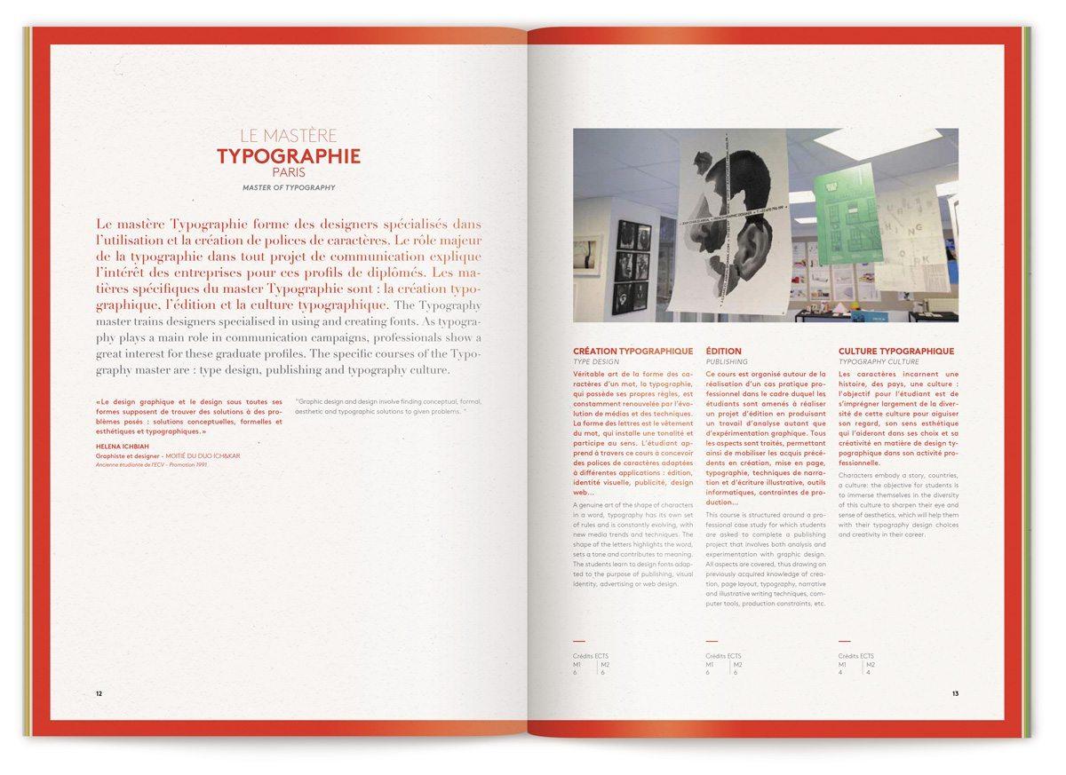 La double page sur le mater typographie enseignées à l'ECV dans le cursus communication visuelle, design IchetKar