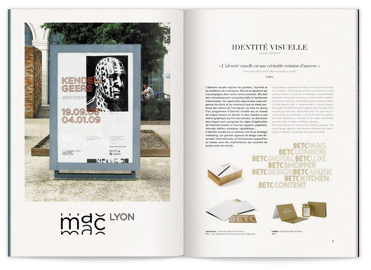 La page identité visuelle de la brochure métiers de L'ECV, BETC et Mec Lyon, design IchetKar