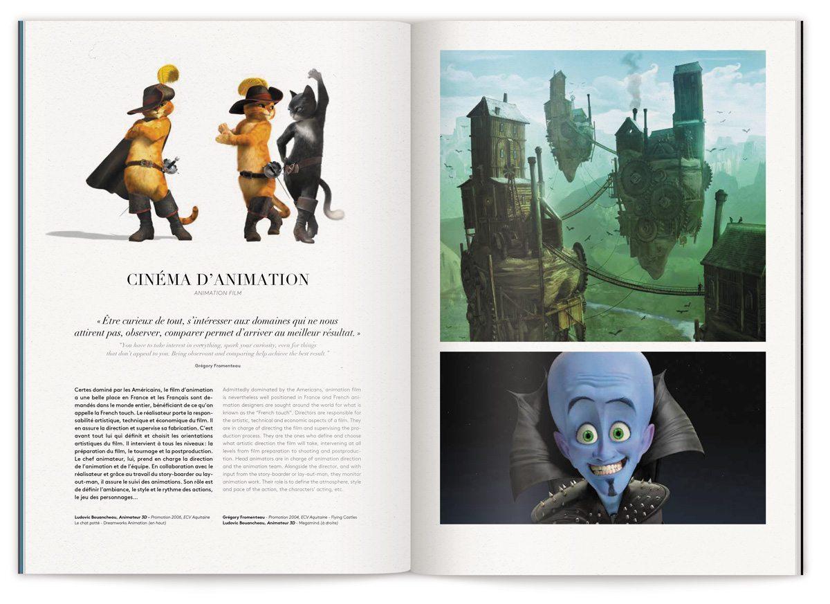 La page cinéma d'animation de la brochure métiers de L'Ecole de Communication Visuelle, design IchetKar