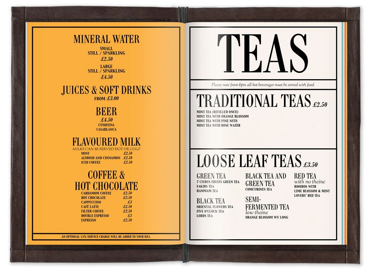mo'café menu thés momo london