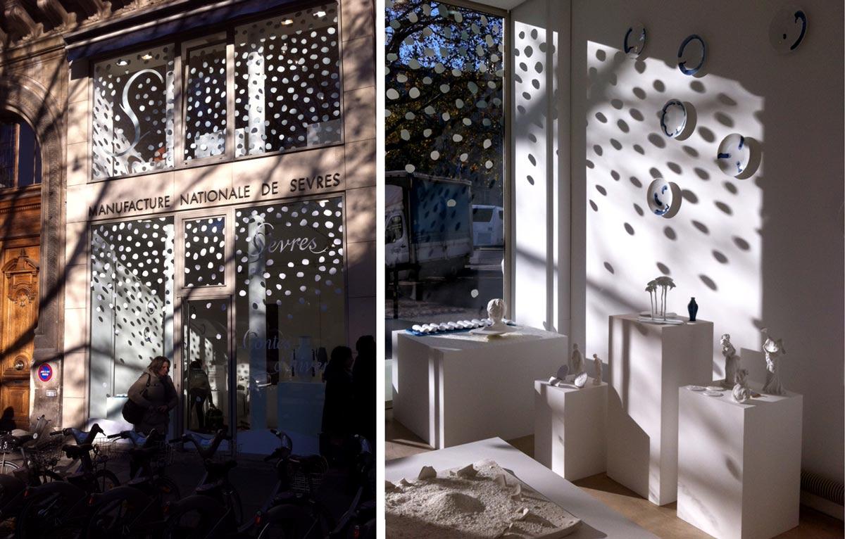 vitrophanie neige design ich&kar pour sèvres cité de la céramique