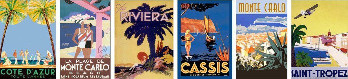 mood board affiches riviera cote d'azur, monte carlo, cassis, sainttropez