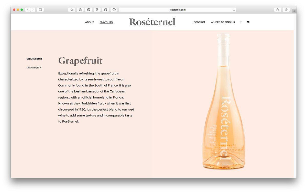 site web du vin rosé roséternel design web et ergonomique ichetkar