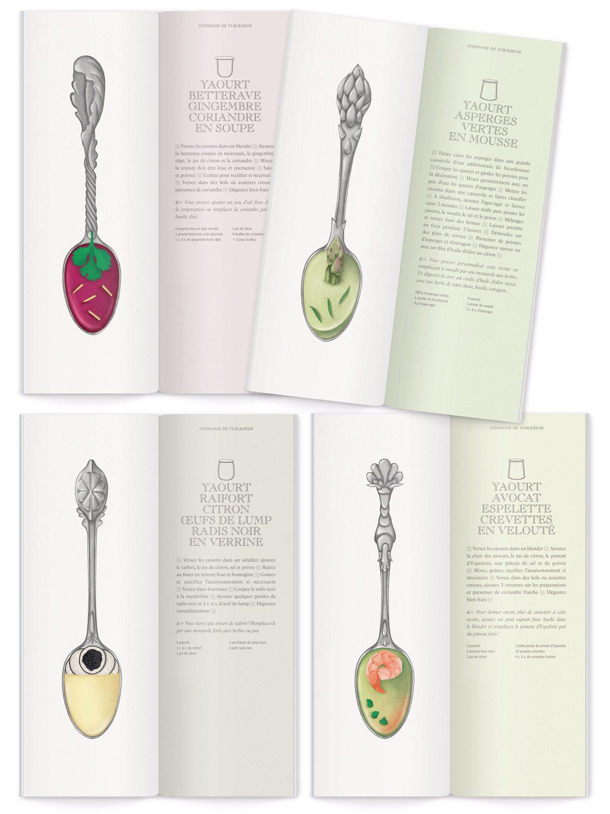 livret de recettes de yaourt illustré par ichetkar illustrations réalistes de cuillères en argent ornées de feuille crevette asperge et citron