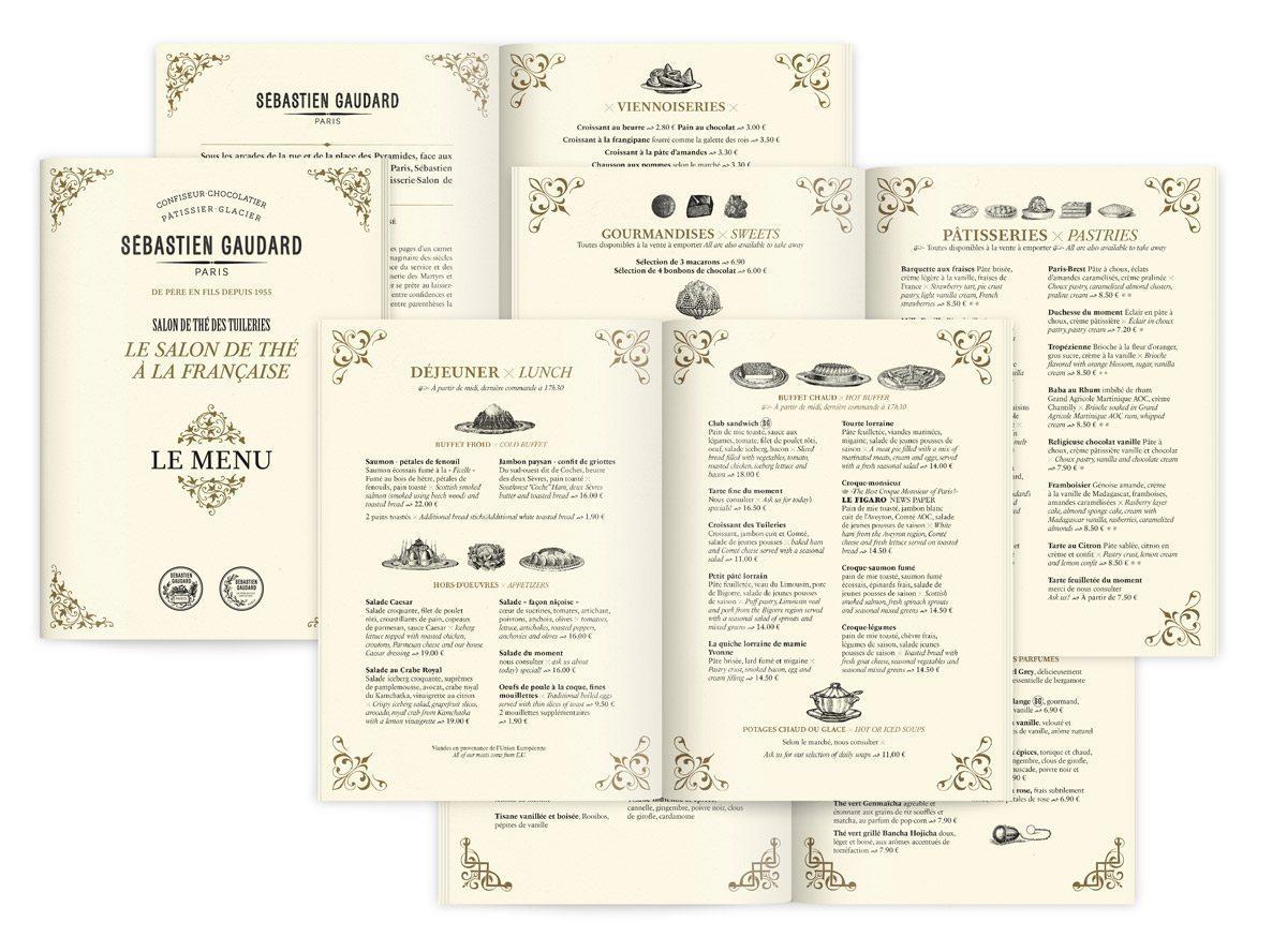 menu raffiné rétro du salon de thé pâtisserie de sébastien gaudard dessiné par ichetkar