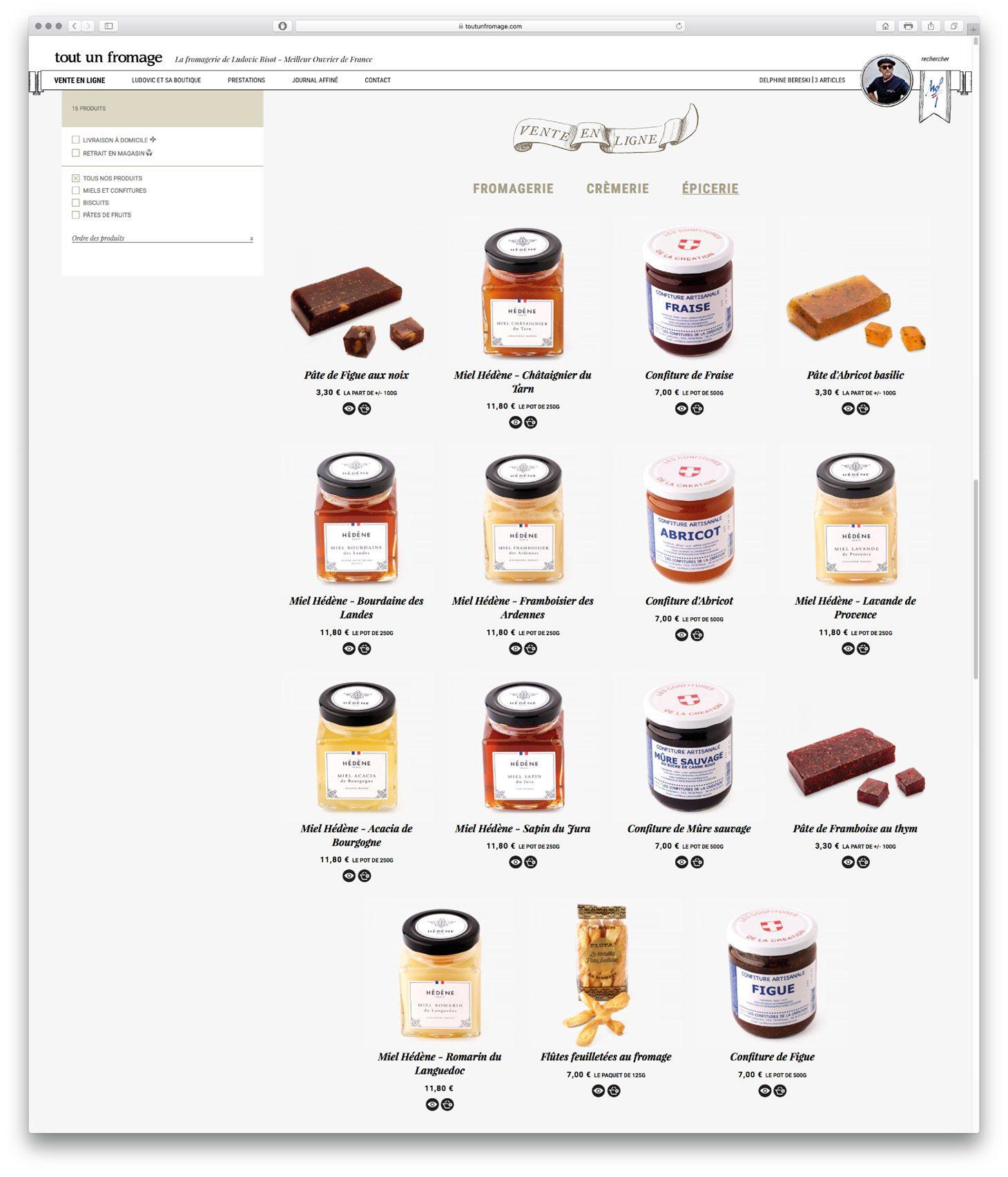 tout un fromage vente en ligne page produits épicerie miel hédène
