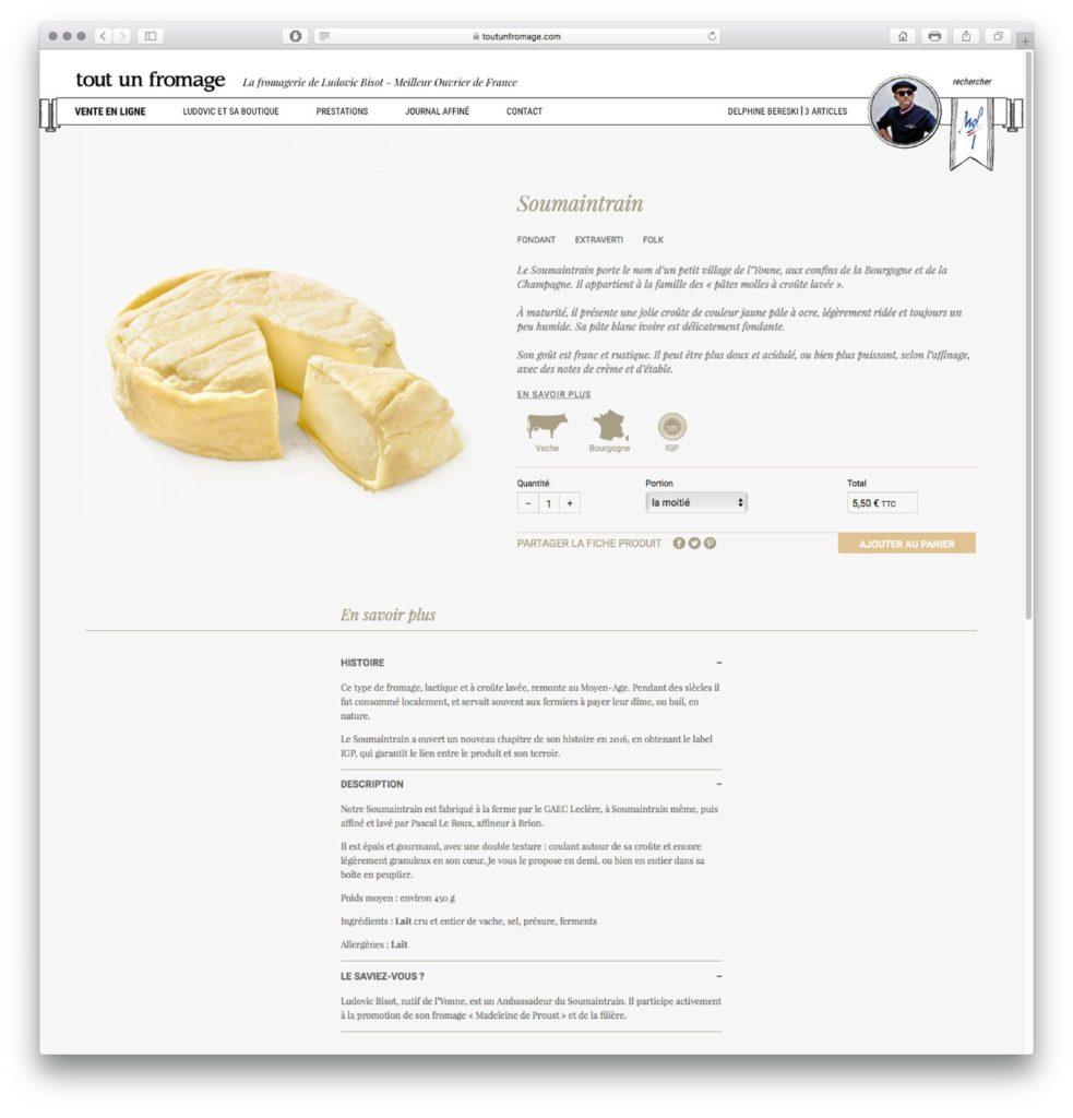 tout un fromage vente en ligne fiche produit soumaintrain