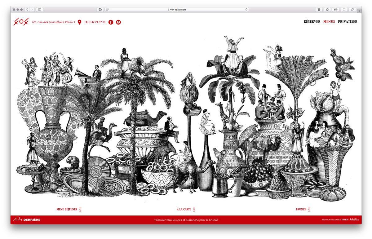 Une grande illustration pour la page présentant les menus du restaurant 404, cuisine Nord Africaine au 69 rue des Gravilliers, Paris 3, design et illustration Ich&kar