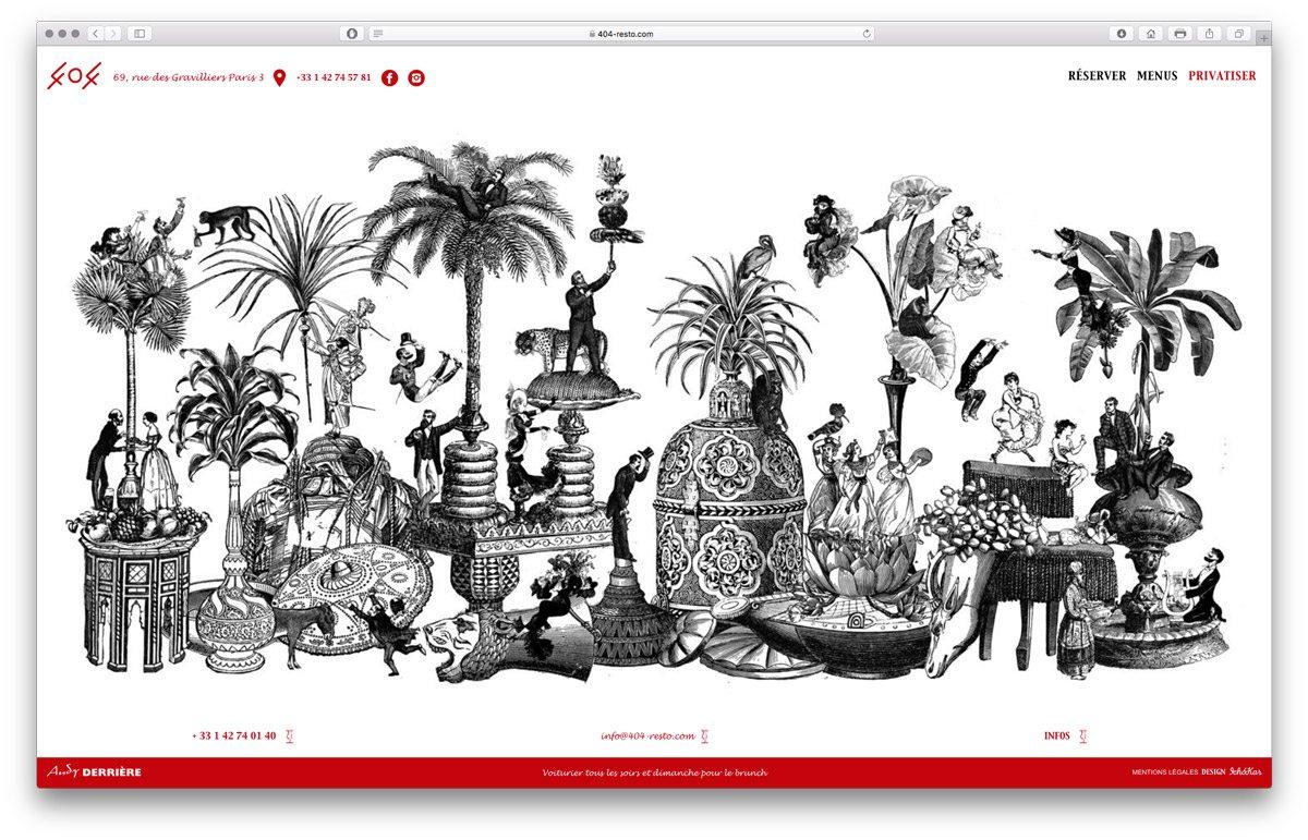 Pour la page privatisation du lieu du restaurant 404, Les graphistes IchetKar réalisent une illustration rappelant les tableaux du Douanier Rousseau