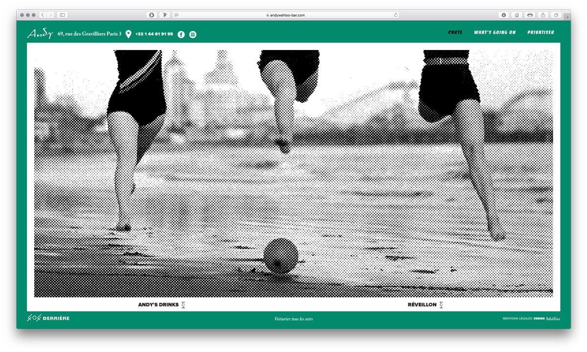 Ambiance Sixties pour l'imagerie du site internet de l'Andy Wahloo, page carte, design Ichetkar