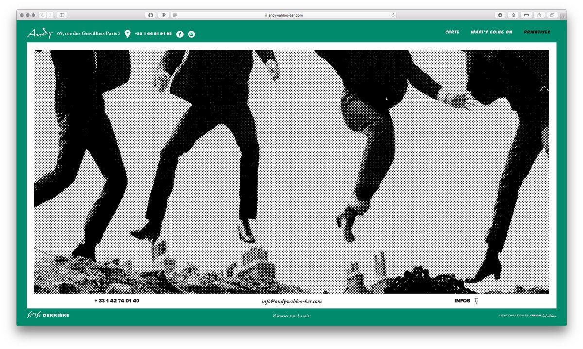 Page privatisation du site web de l'Andy Wahloo, situé au 69 rue des Gravilliers, ambiance Sixties, design Ichetkar