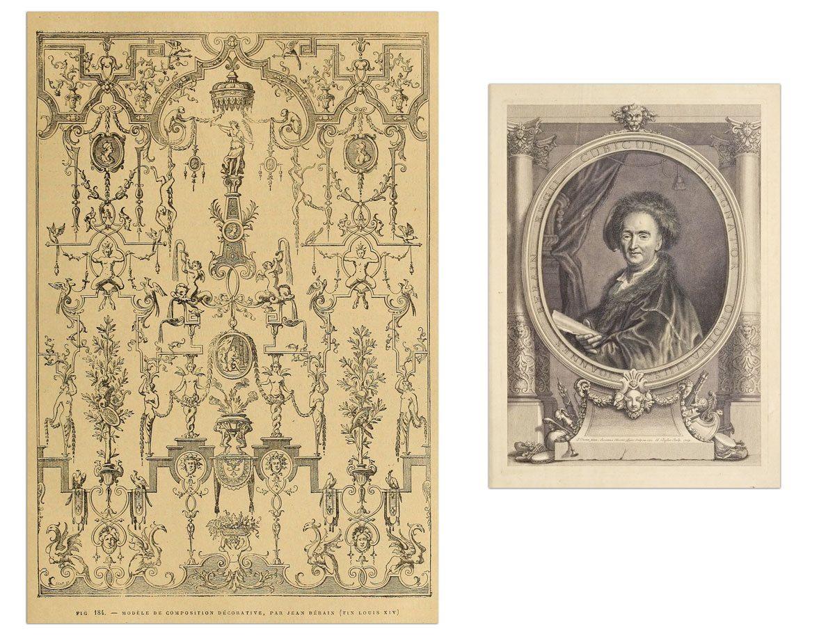 Jean Berain, modele de composition décorative fin Louis XIV et portrait de Jean Berain par Claude Duflos 1709