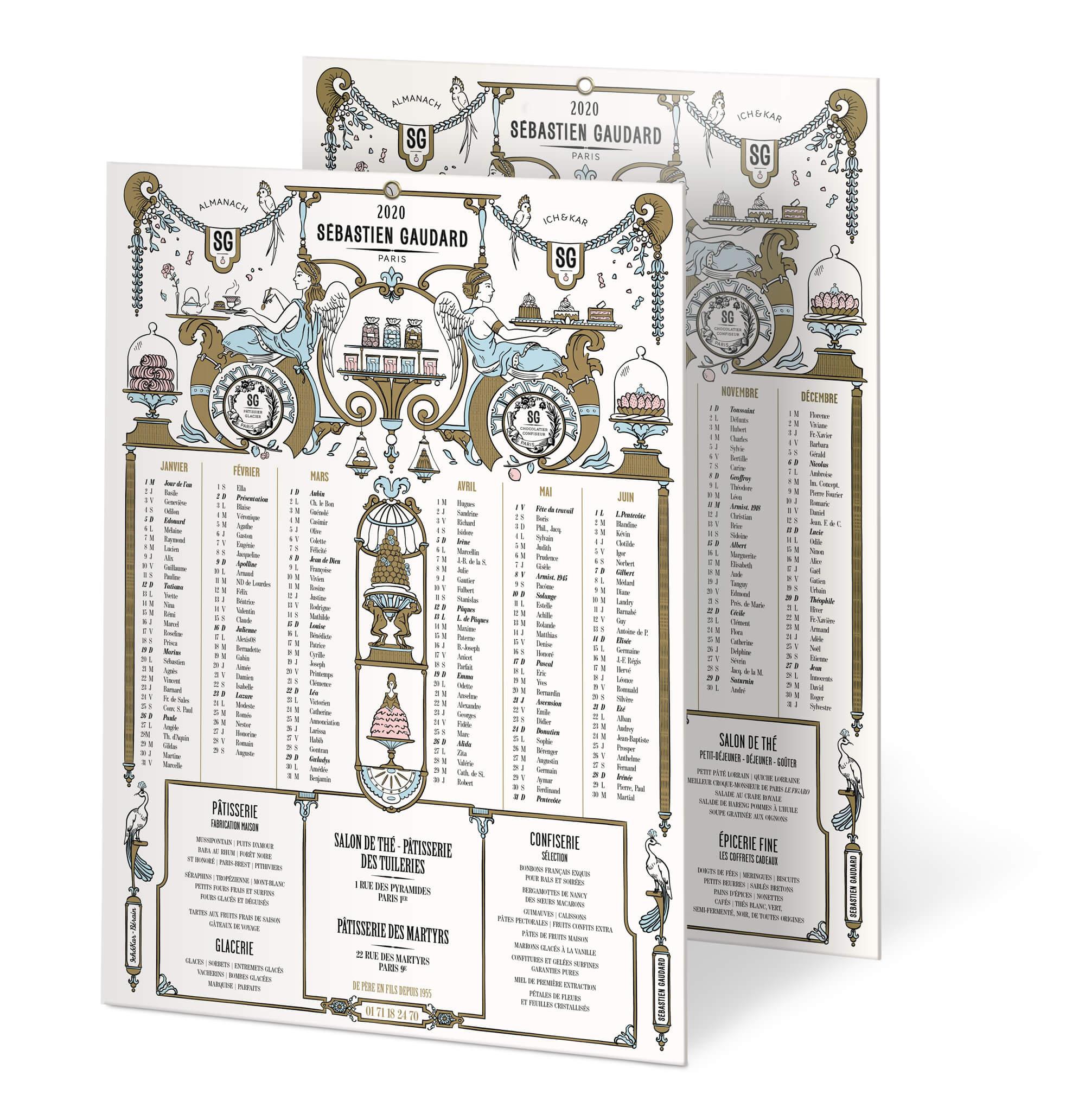 visuel du calendrier 2020 dessiné par le studio IchetKar, les illustrations reprennent des motifs du décorateur bérain… pour le patissier Sébastien Gaudard Paris
