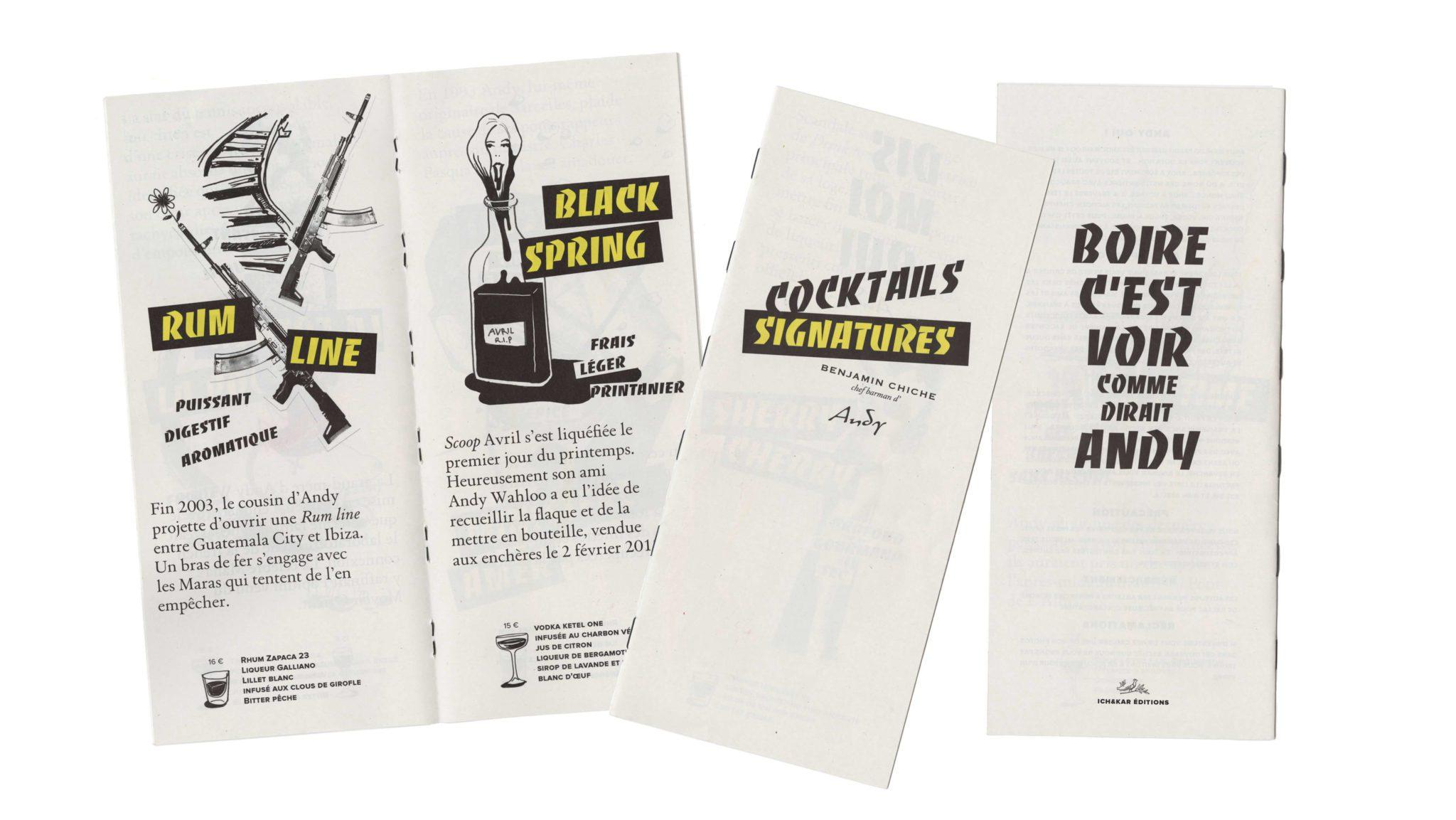 Andy wahloo se paye une carte cocktail punk de luxe avec des illustrations et une mise en page signé ichetKar