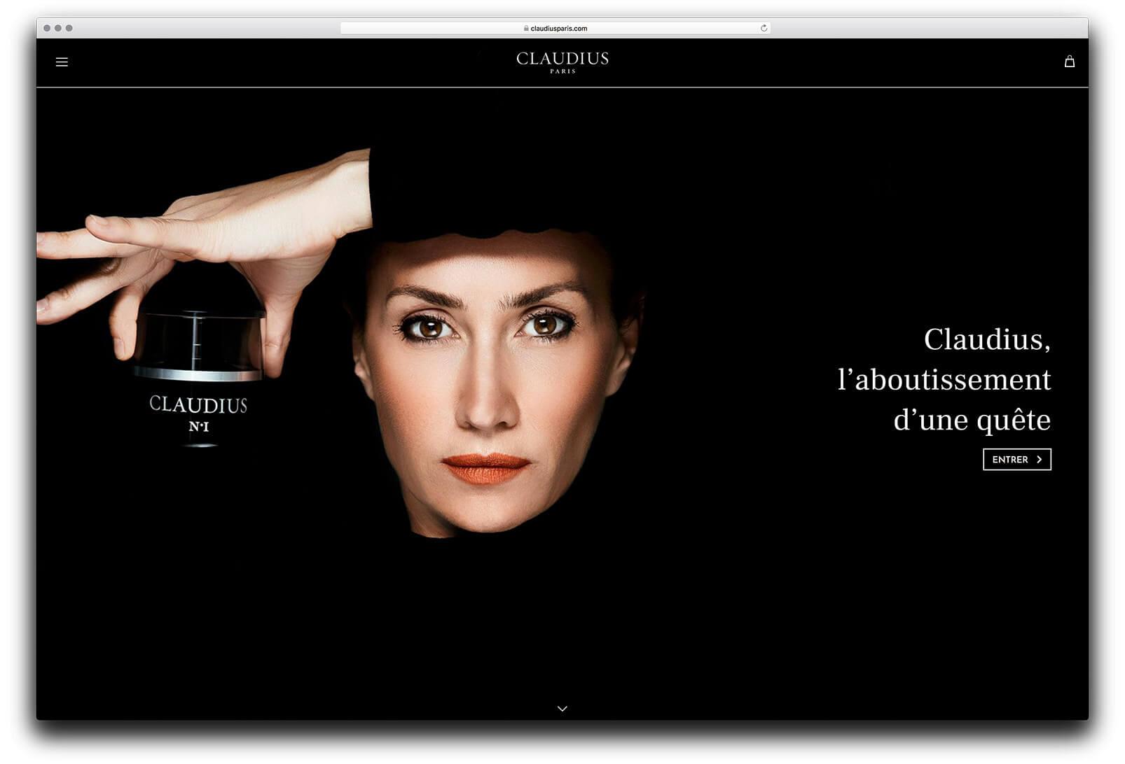 Site internet de Claudius, page d'accueil sur histoire la marque et de sa fondatrice Sophie Guillou, design par Ichekar