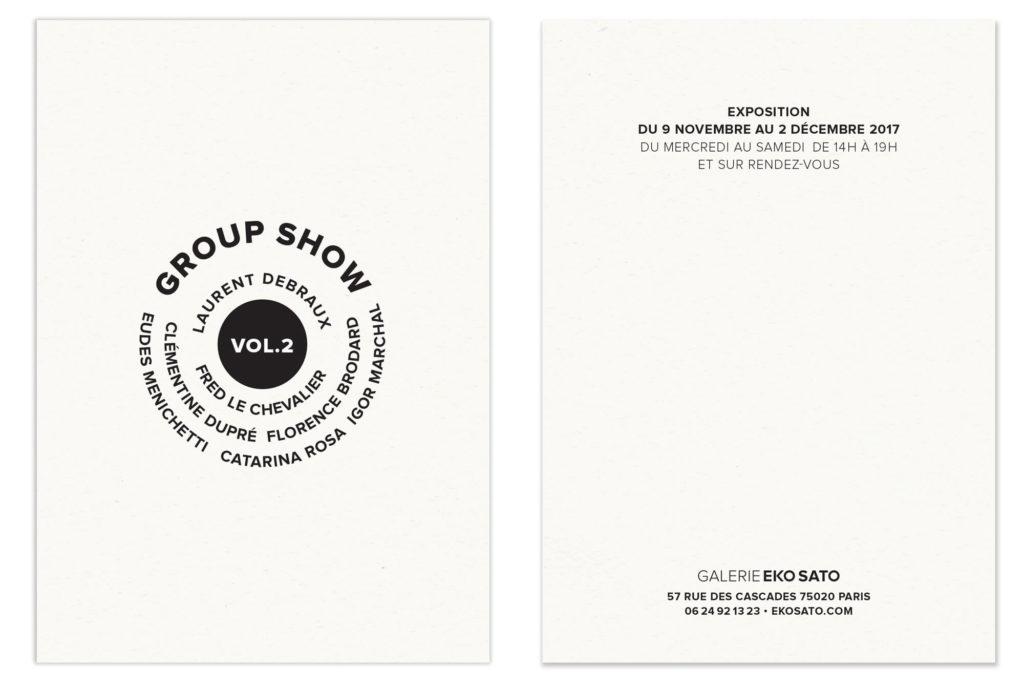 exposition groupée a la galerie Eko Sato un carton minimaliste dessiné par le studio Ichetkar