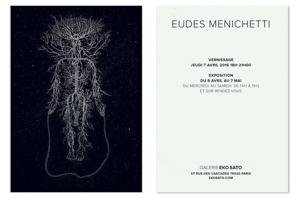 carton invitation carte postale pour le vernissage d'eudes menichetti