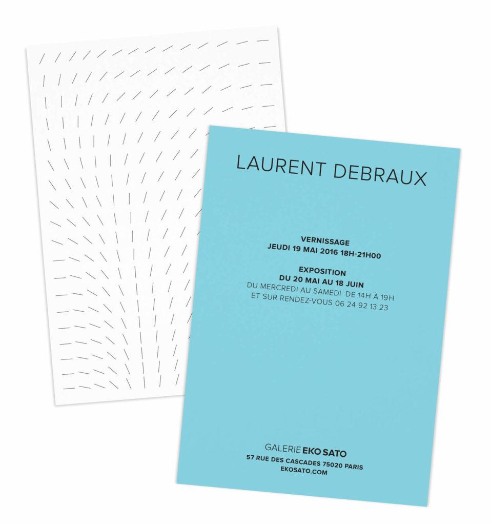identité d'eko sato déclinée, un carton color block pour l'artiste cinétique Laurent debraux