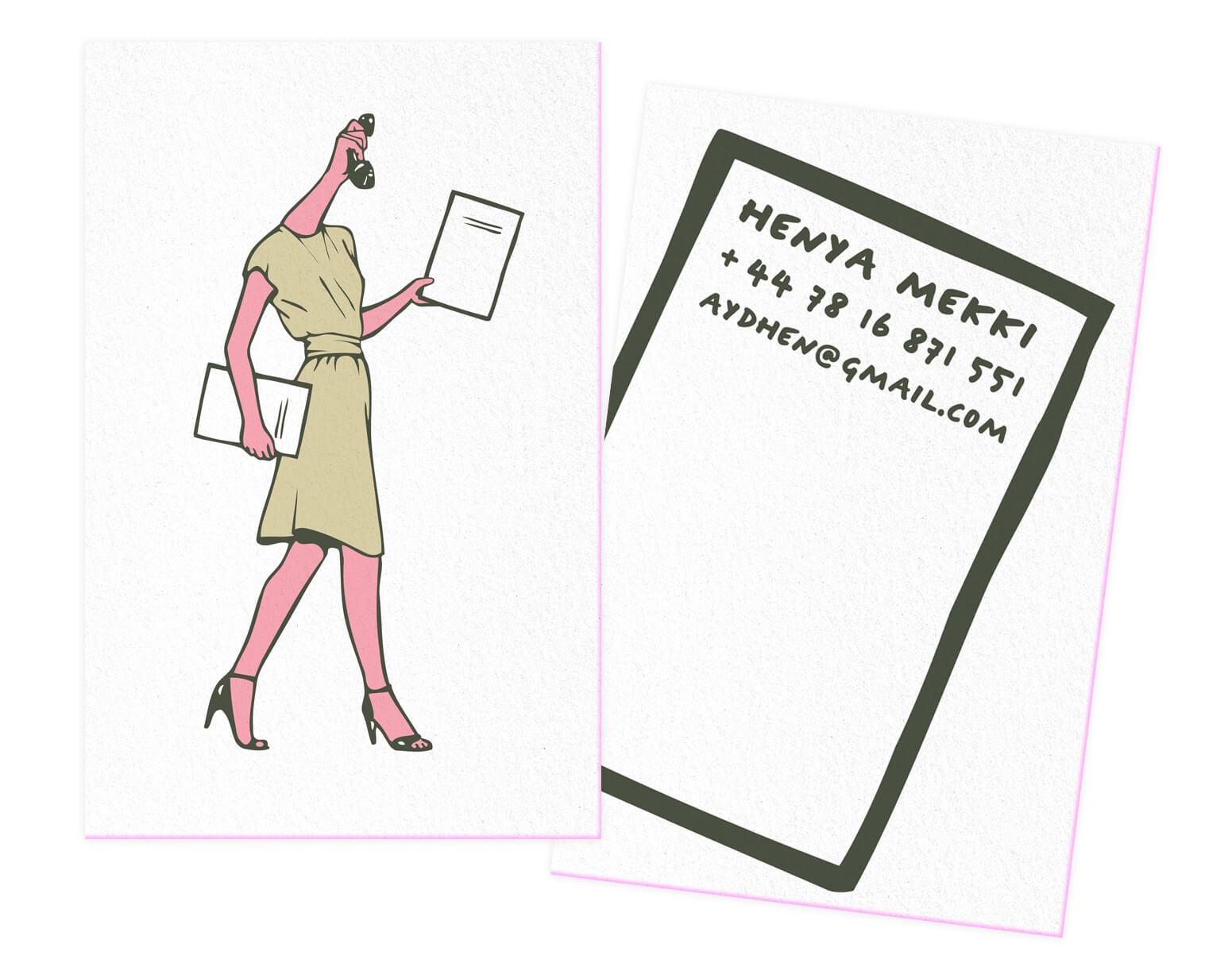 carte de visite Henya Mekki, wonder woman des temps moderne illustrée par les graphistes Ichetkar.