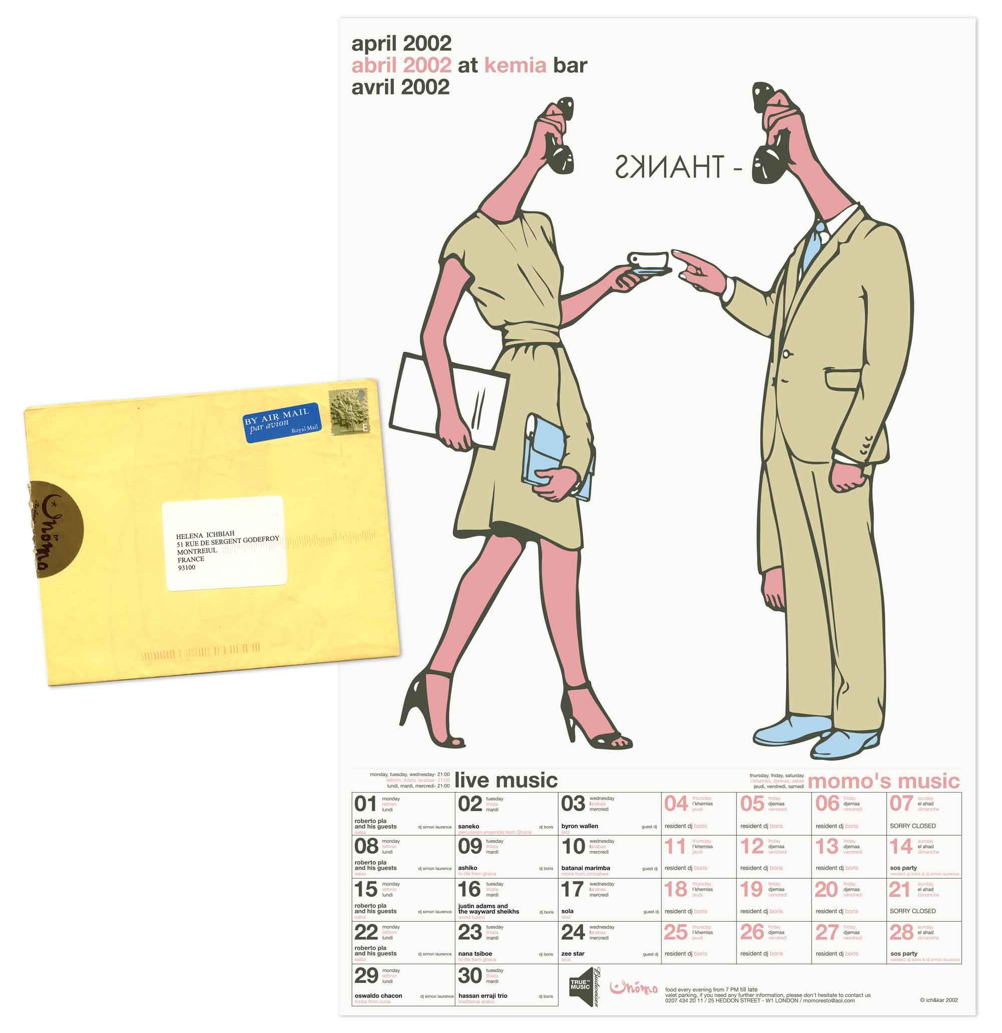 poster Momo avril 2002 comics dédicace Henya Mekki par Ich&Kar