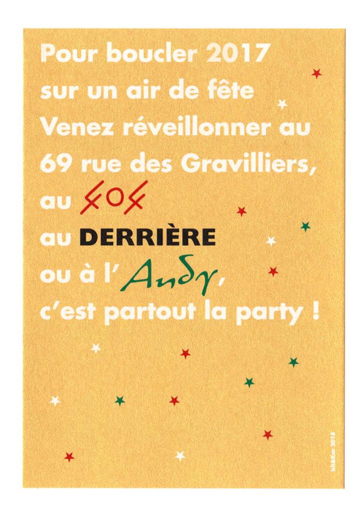 Un carton d'invitation au réveillon du 69 rue des gravilliers sur un beau papier doré et imprimé en blanc