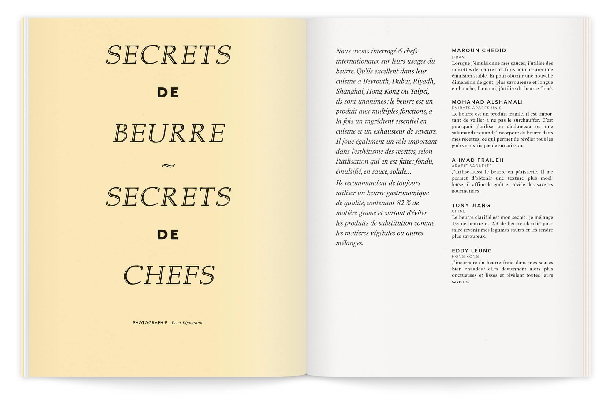 brochure élégante et mise en page maîtrisée, sur la page de gauche, un aplat jaune accueille une composition typo classique tandit que la page de droite en deux colonne présente les chefs invités dans le projet.