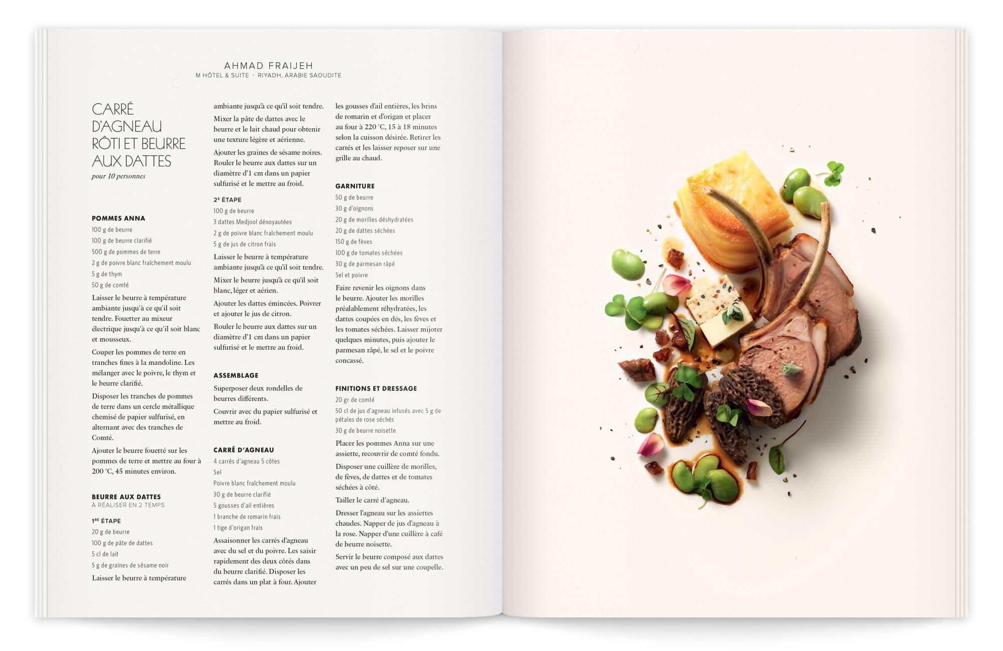 photographie culinaire gastronomique , une recette d'ahmad fraijeh magnifiée par Garlone bradel et photographié par peter lippmann, pour la chaire secrets de beurre dessiné par Ich&Kar