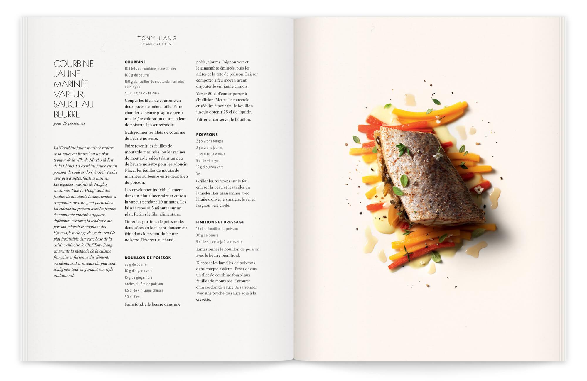 Une brochure gastronomique qui fait la différence, photo de peter lippmann et recette dy chef chinois tony jiang. direction artistique Ich&Kar