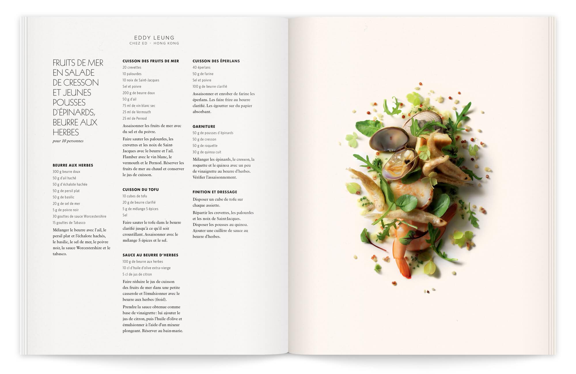 mise en page soignée et photographie culinaire contemporaine par peter lippmann. une composition sans assiette, comme un paysage d'une recette d'eddy leung