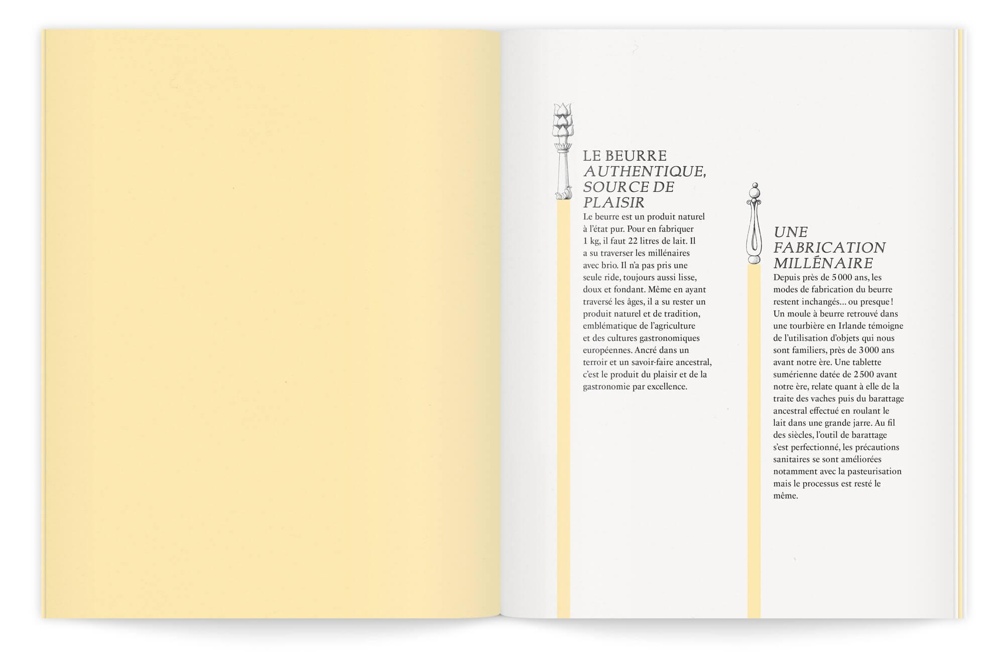 composition typo élégante ornée de gravures anciennes, dans cette brochure dessinée par Ich&Kar
