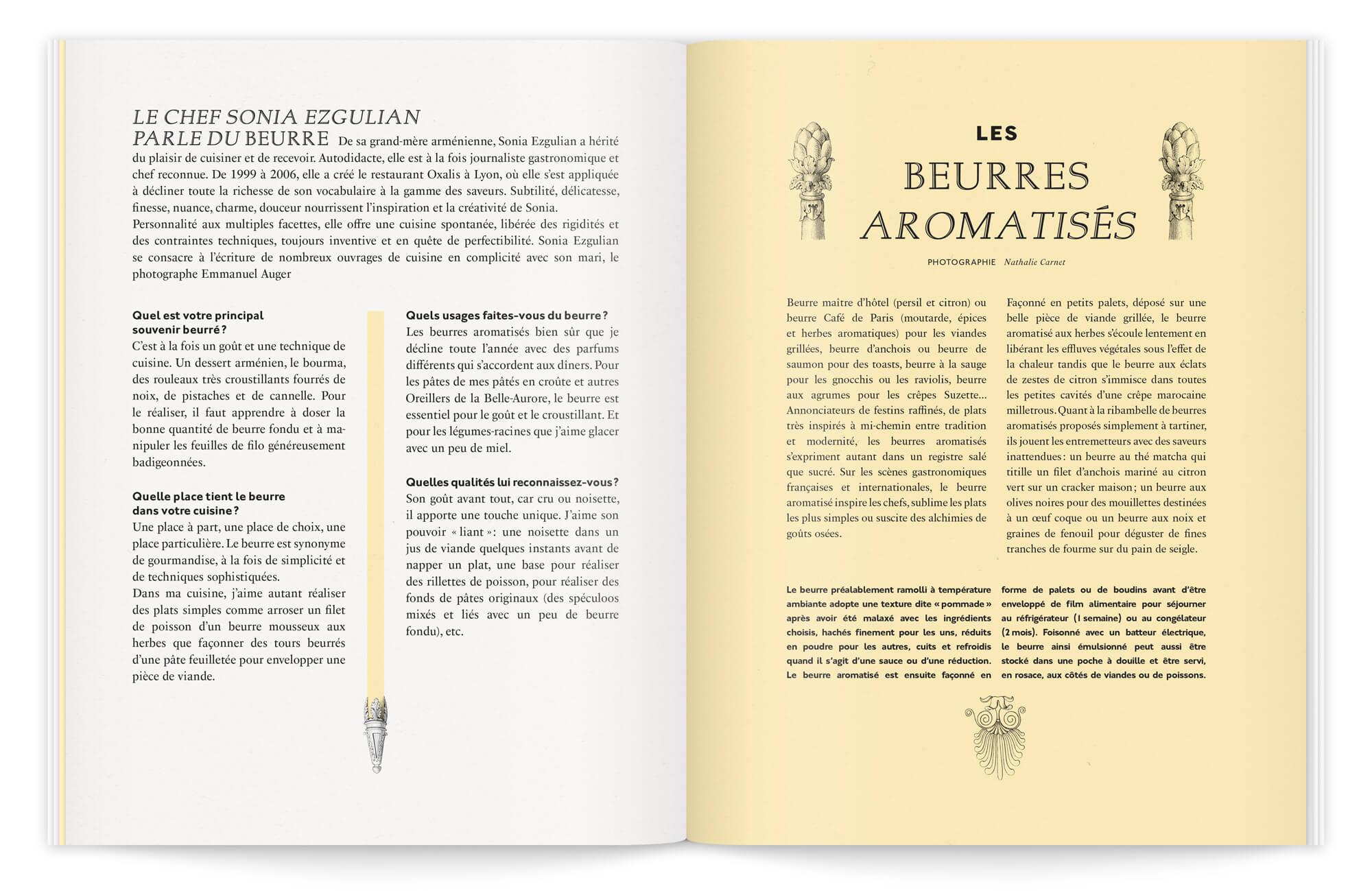 mise en page classique Chic rythmée par le color block jaune pastel, des gravures anciennes viennent habiller cette double. dans une brochure premium dessinée par Ich&Kar