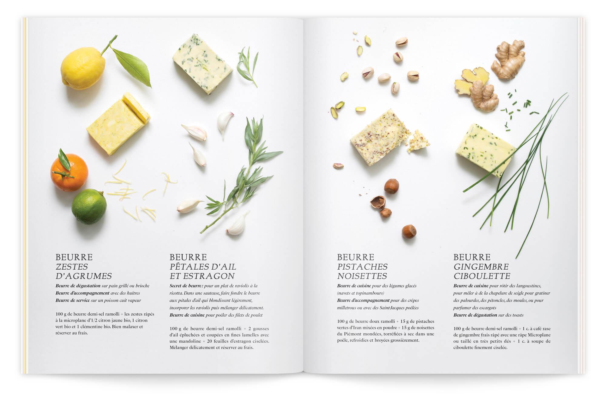 composition photo à la manière d'un plan de travail, pour cette double page sur le beurre, dessinée par le bureau d'Helena Ichbiah