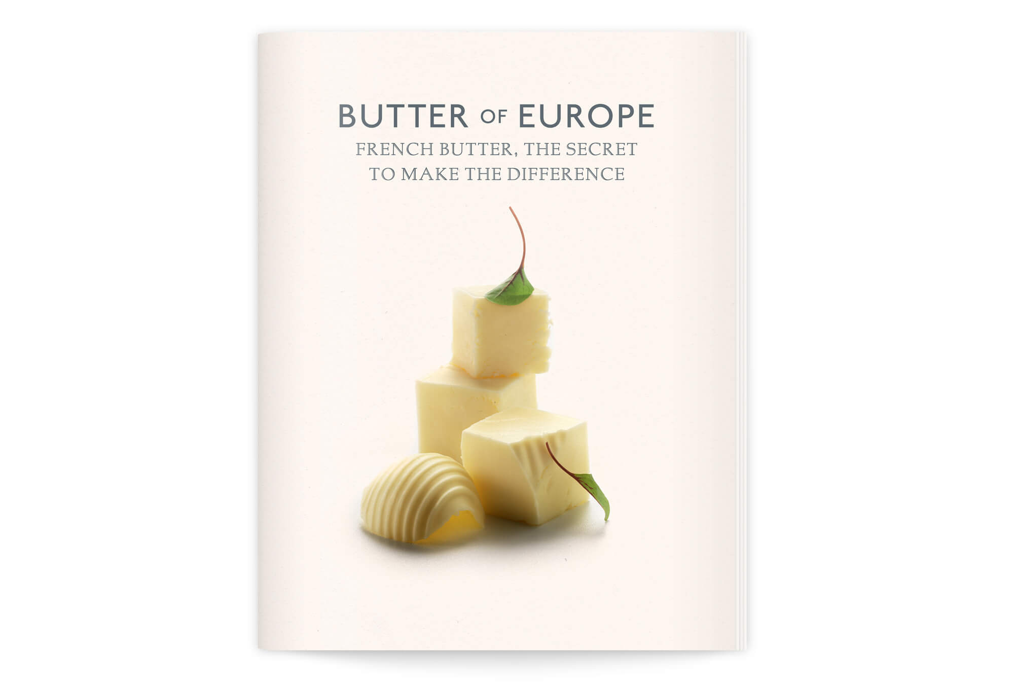 Photographie claire, de beurre sur fond neutre, dans un style naturel, pour la couverture de cette brochure commandée par le cniel au bureau IchetKar.