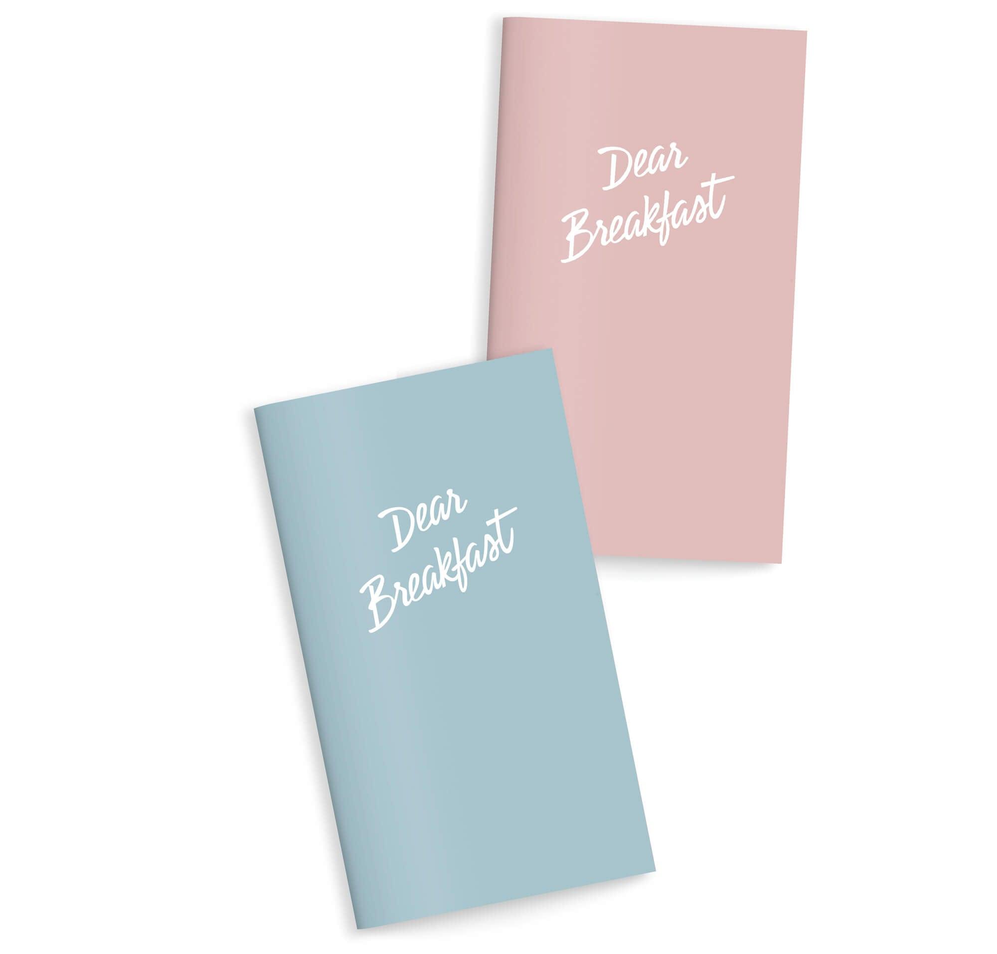 couverture des breakfast menu en rose et bleu du restaurant portuguais Dear Breakfast, un logo redessiné par le bureau Ichetkar