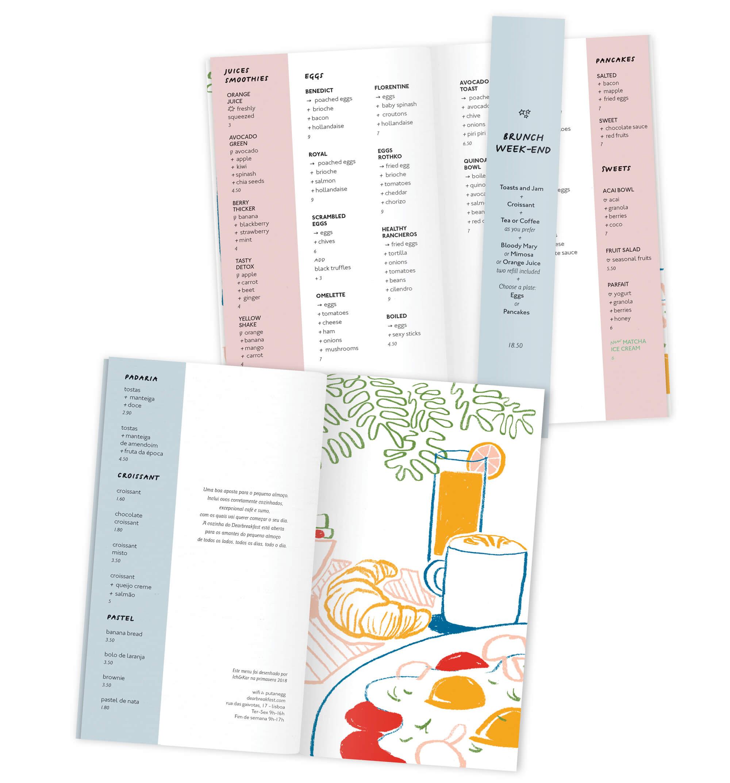 pages interieures du breakfast menus a lisbonne dans des teintes claires, illustration graphique par ichetkar
