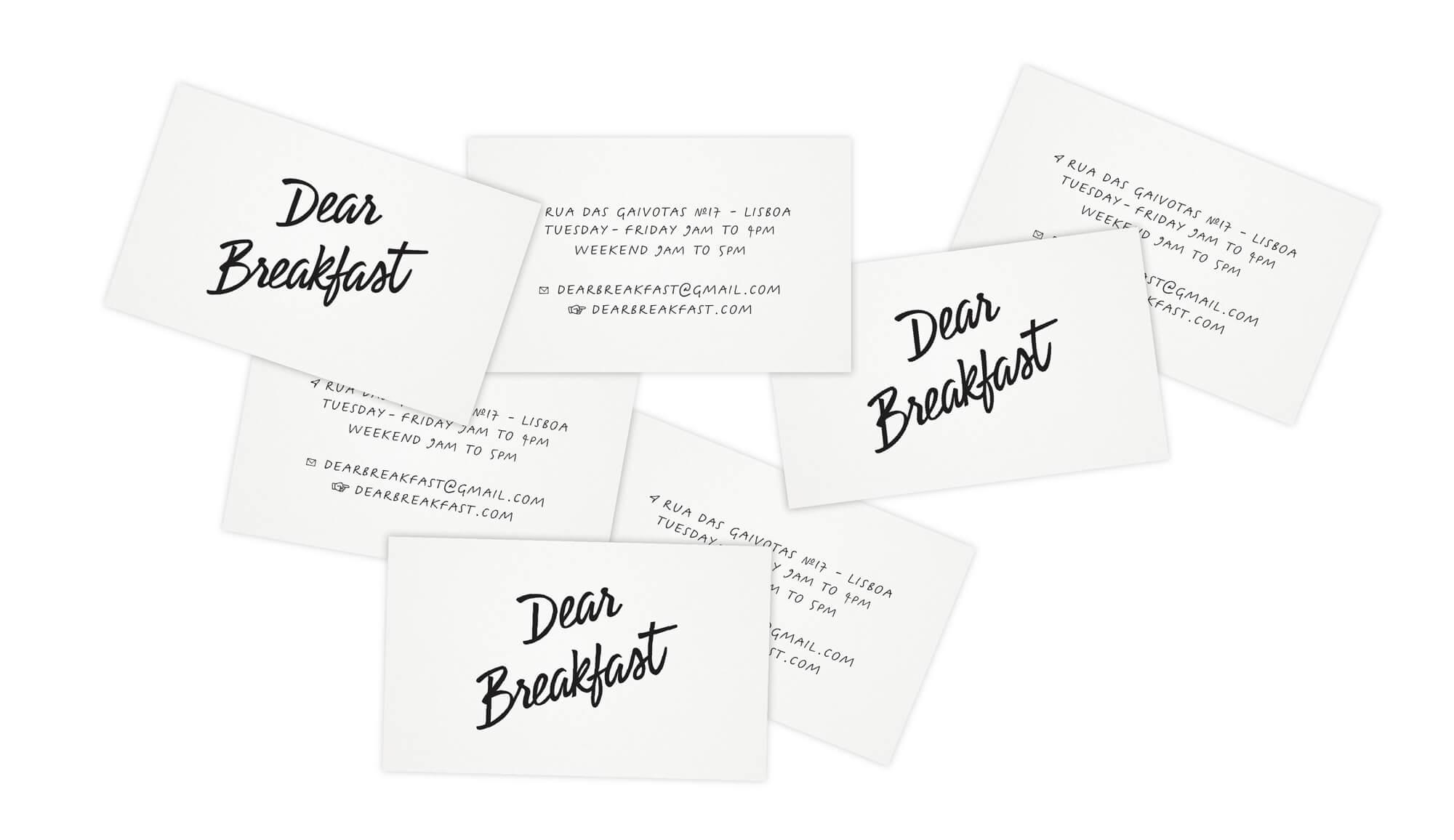 cartes de visites du restaurant dear breakfast, noires et blanches, minimalistes, avec le nouveau logo dessiné par ichetkar