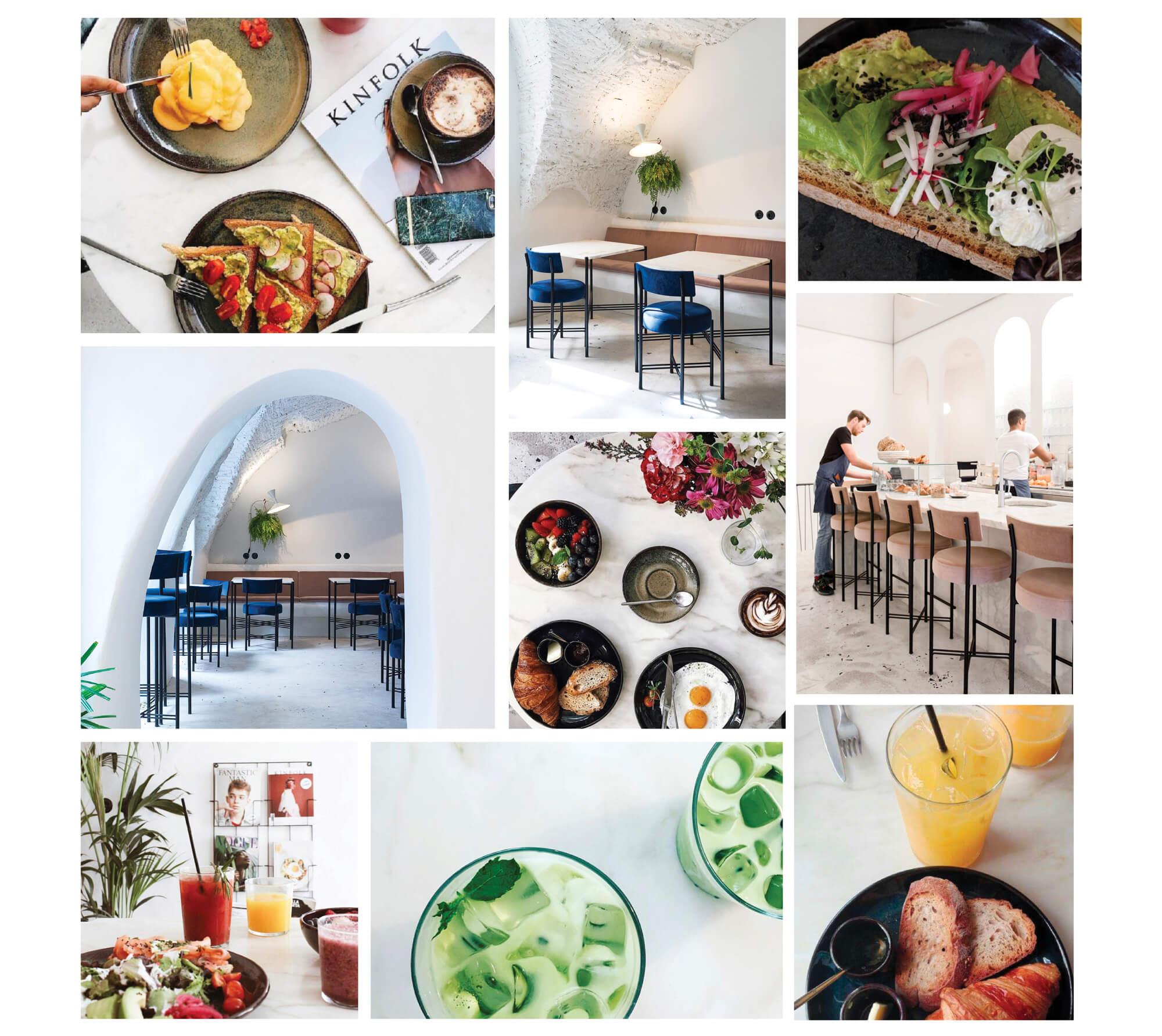 photographies du restaurant dear breakfast, et de la nourriture servie, dans des teintes vives