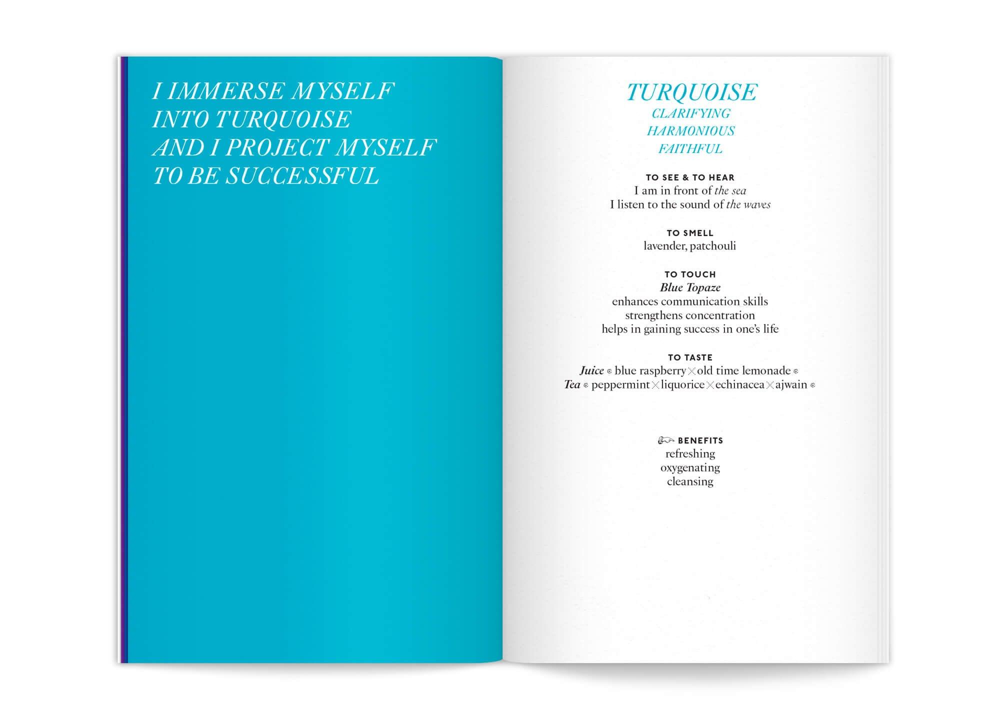 """double page Turquoise de l'édition """"color benefits"""" pour mycocoon par le studio de graphisme IchetKar"""